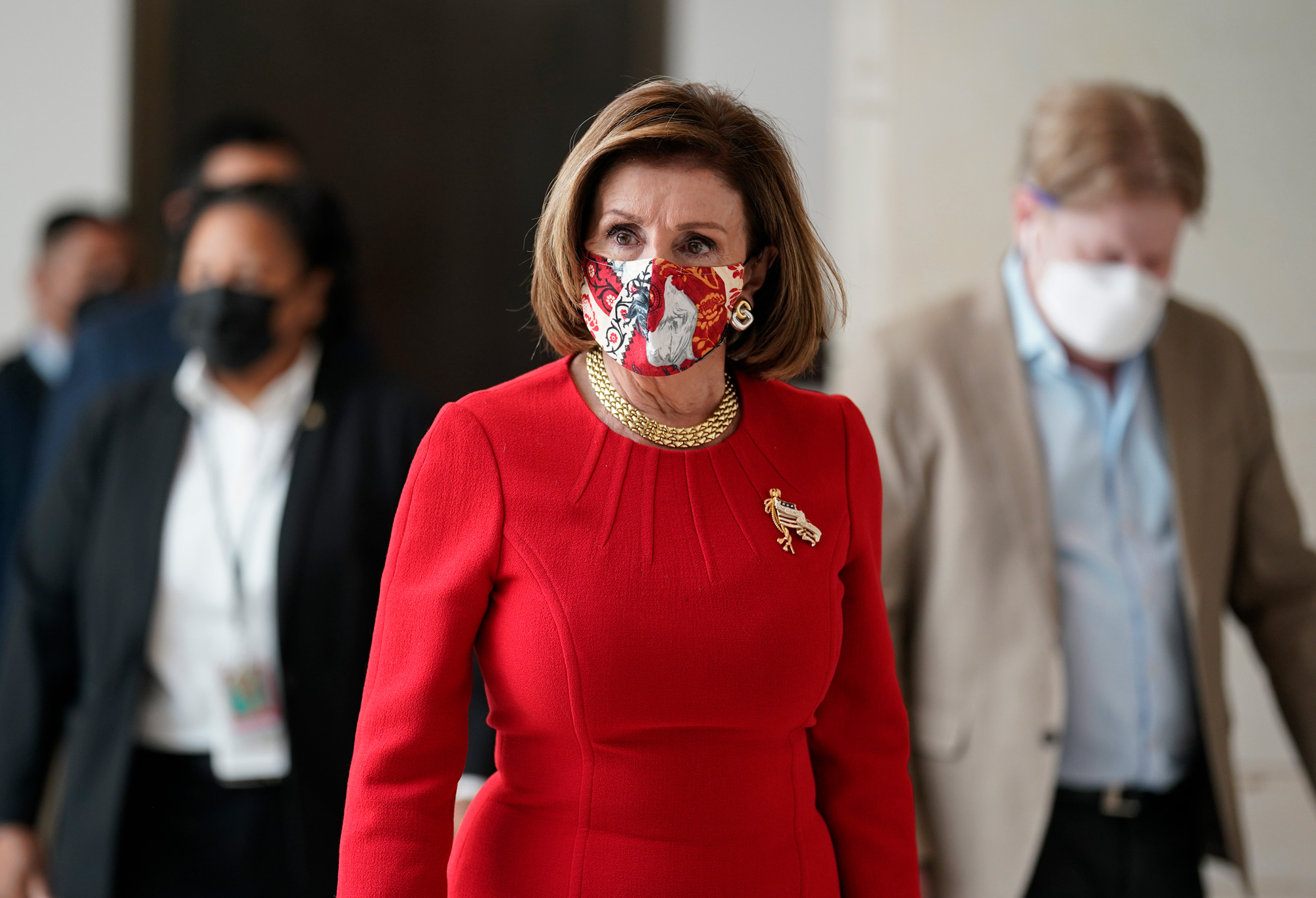 House Speaker Nancy Pelosi walks to a news conference at the Capitol in Washington, DC, on May 13.