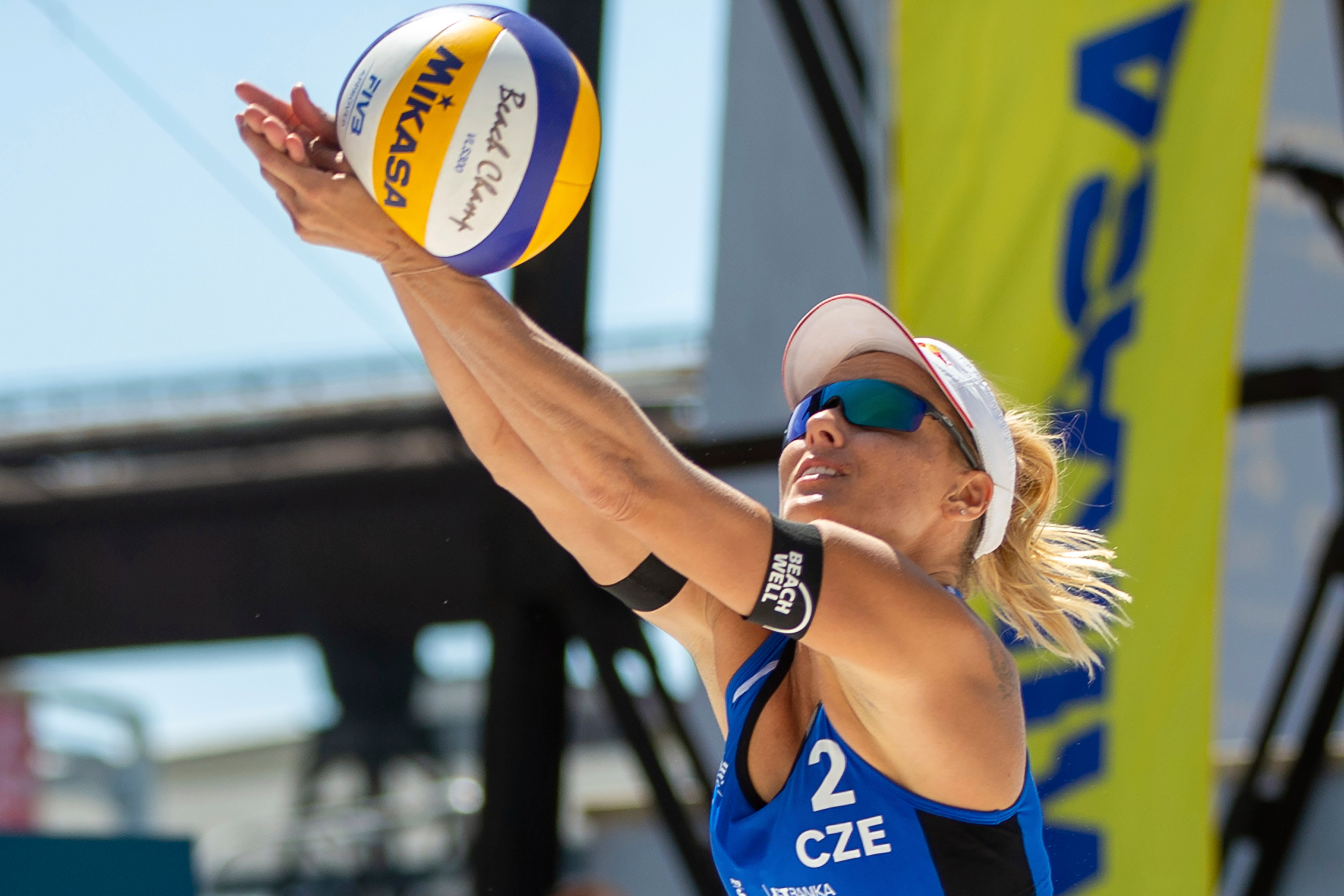 Markéta Sluková-Nausch of Czech Republic returns the ball during the Ostrava Beach Open in Ostrava, Czech Republic, on June 4.