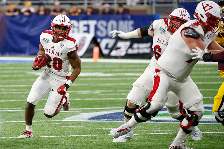 Miami RedHawks running back Tyre Shelton runs with the ball during the Mid-American Conference championship game between the Miami RedHawks and the Central Michigan Chippewas on December 7, 2019 in Detroit, Michigan.