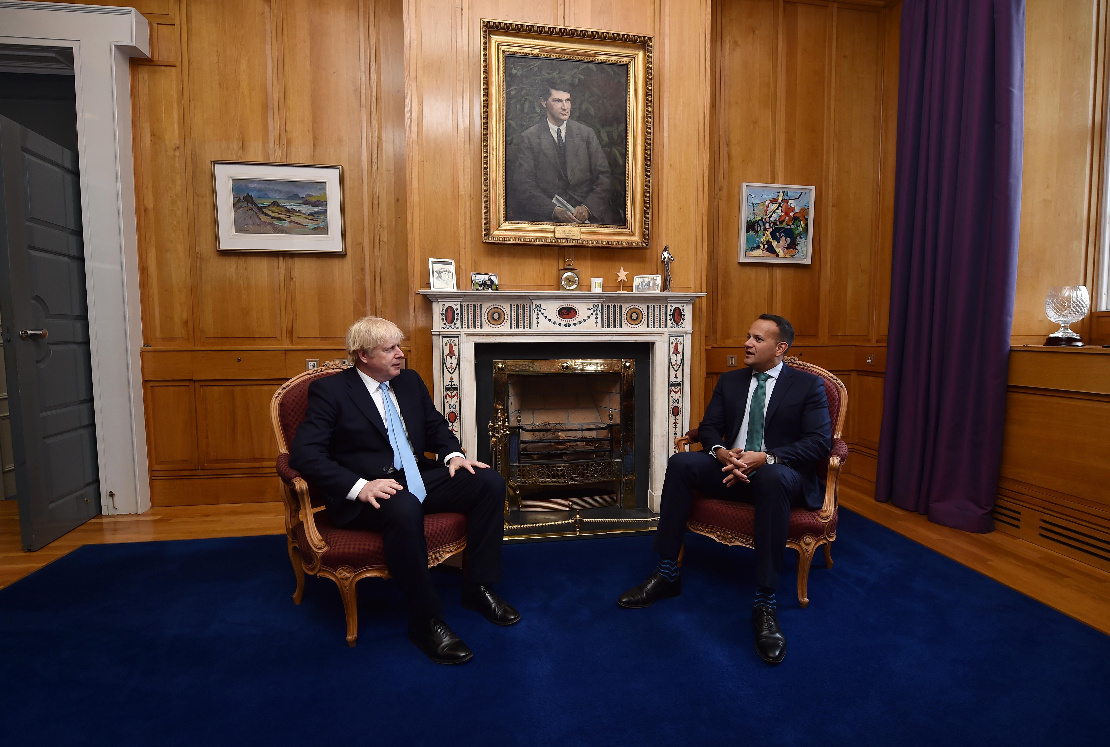 British Prime Minister Boris Johnson meets with Irish Taoiseach Leo Varadkar at Government Buildings.