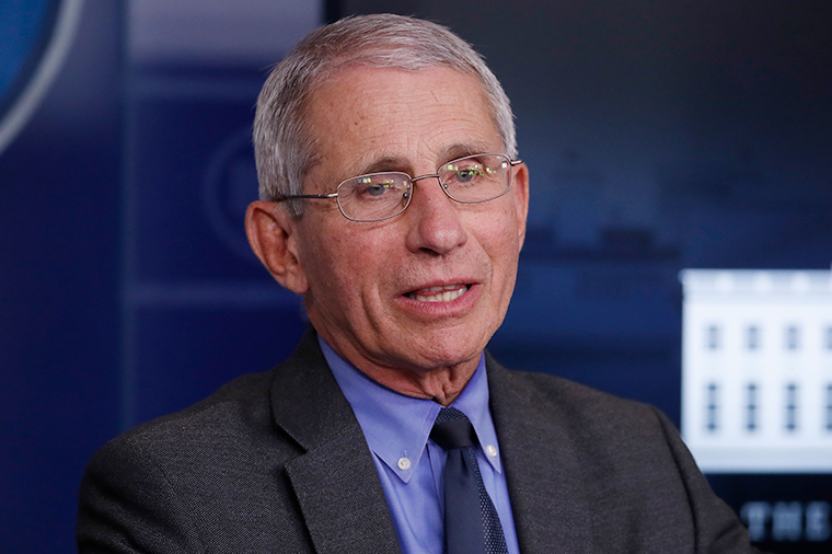 Dr. Anthony Fauci, director of the National Institute of Allergy and Infectious Diseases, speaks at the White House, Tuesday, April 7.