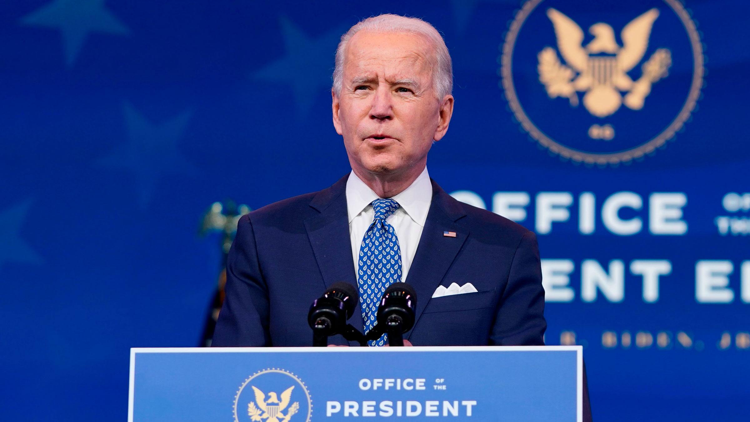 President-elect Joe Biden speaks in Wilmington, Delaware, on Tuesday.