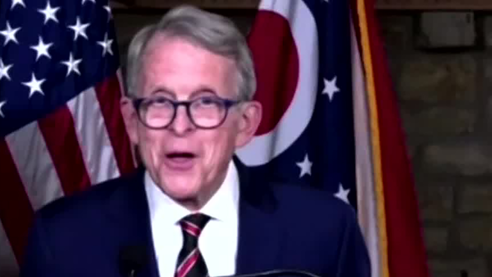Ohio Gov. Mike DeWine speaks during a news conference on Monday, December 14.