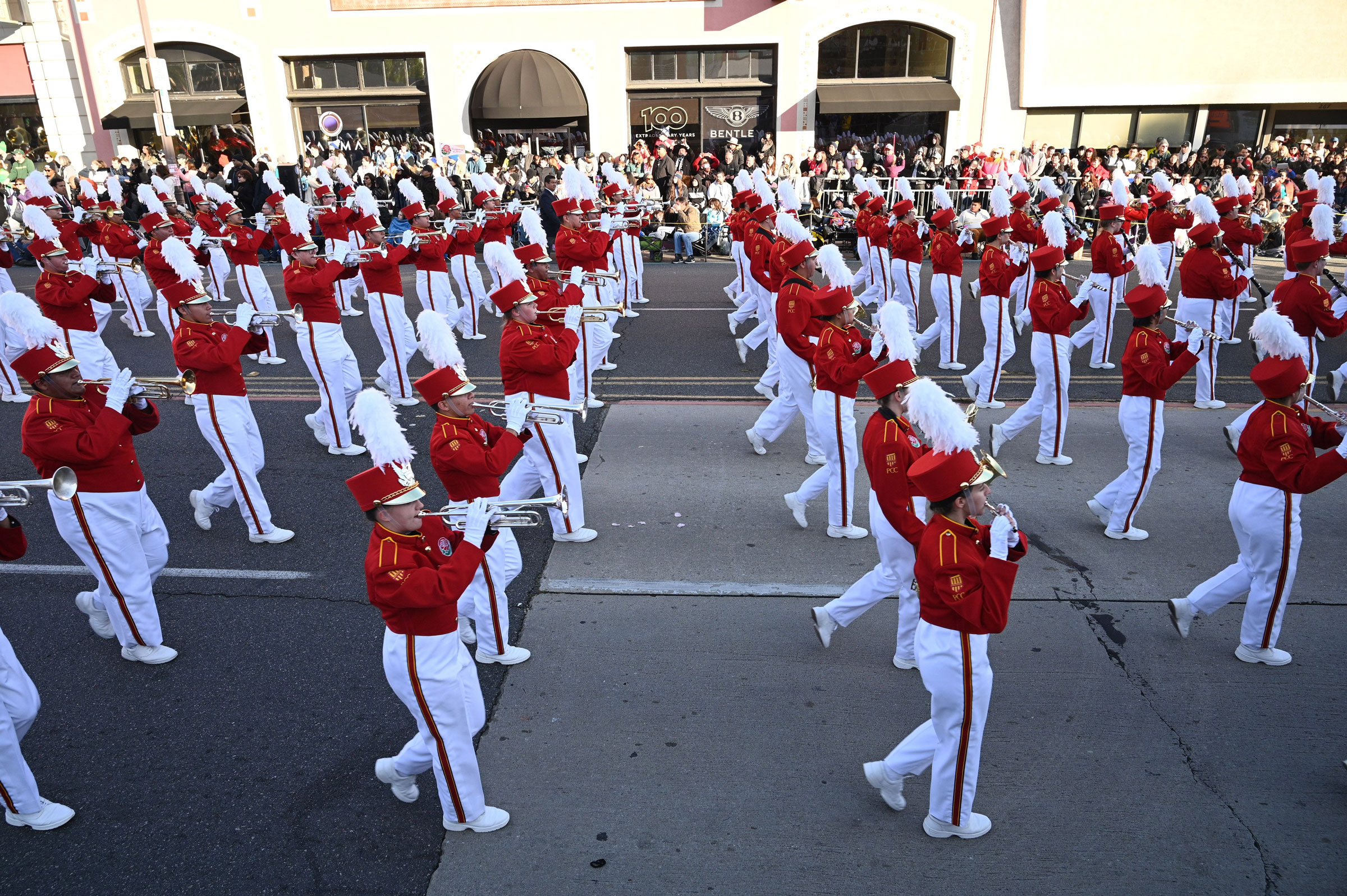The Pasadena City College marching band participates in the Rose Parade on January 1.