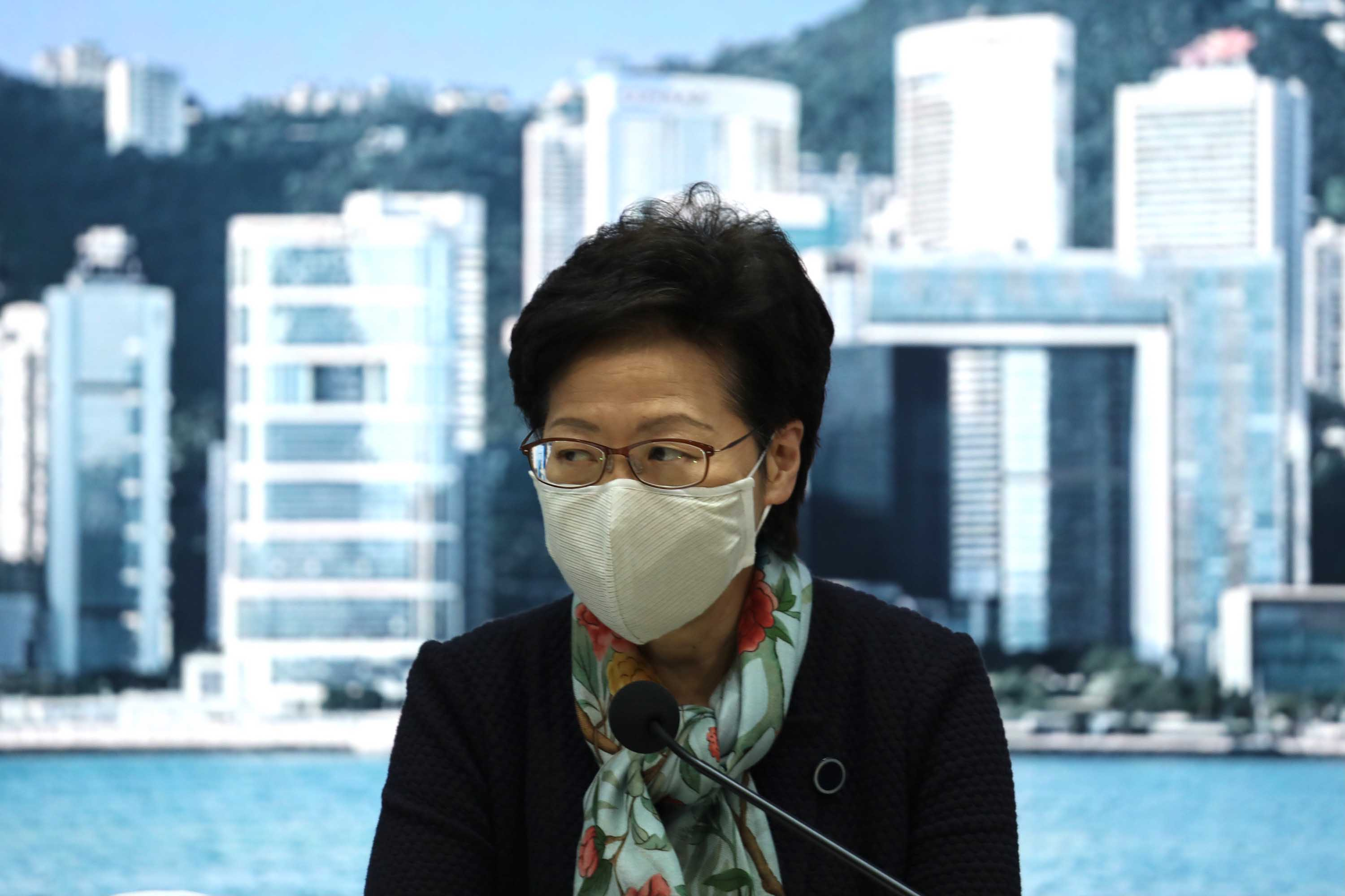 Hong Kong Chief Executive Carrie Lam during a press conference on Covid-19 measures in Hong Kong on Monday, November 30.