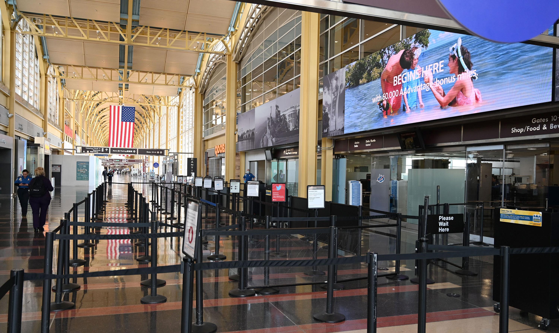An empty TSA control checkpoint is seen at Washington National Airport on April 11, in Arlington, Virginia.