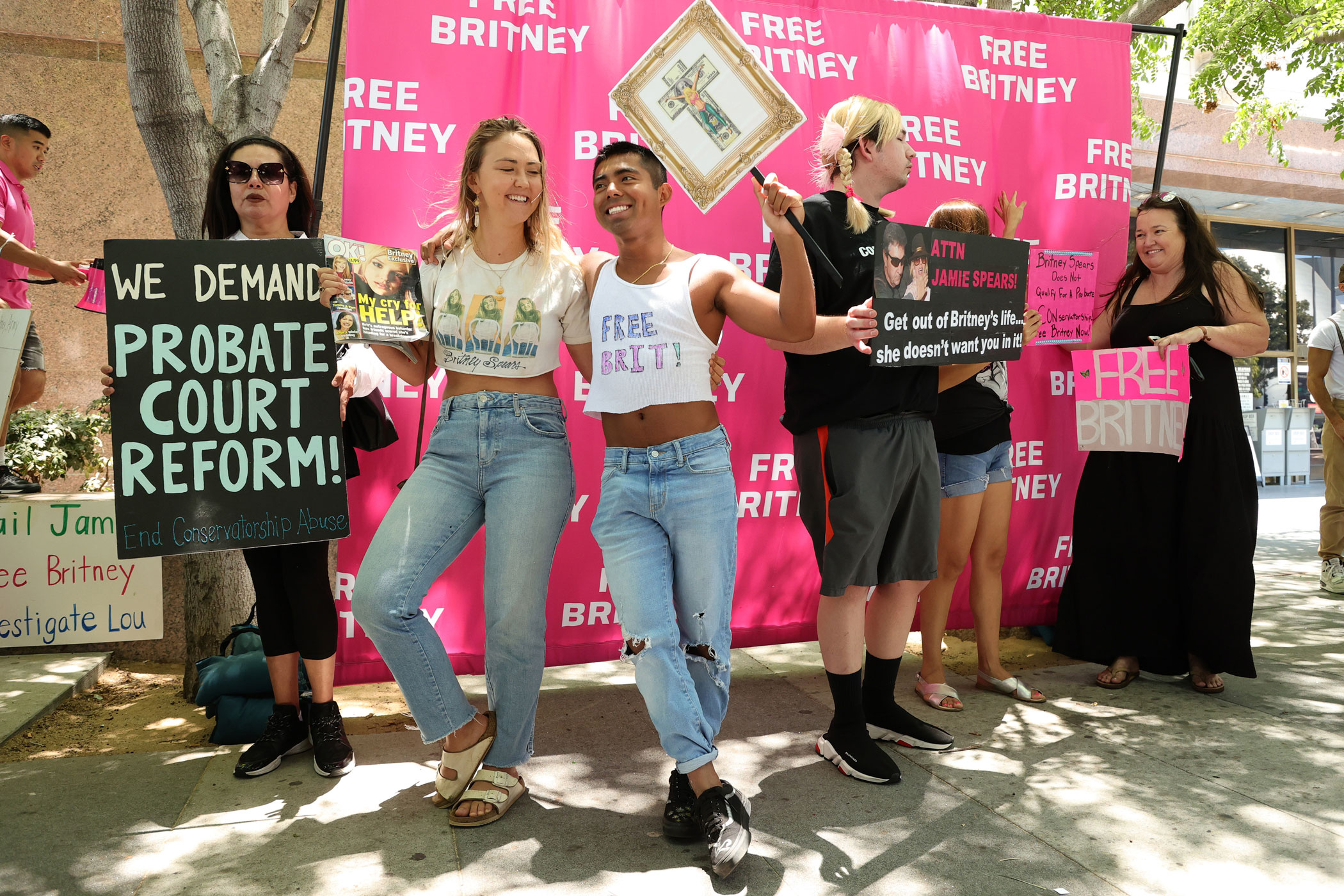 #FreeBritney activists protest at Los Angeles Grand Park.