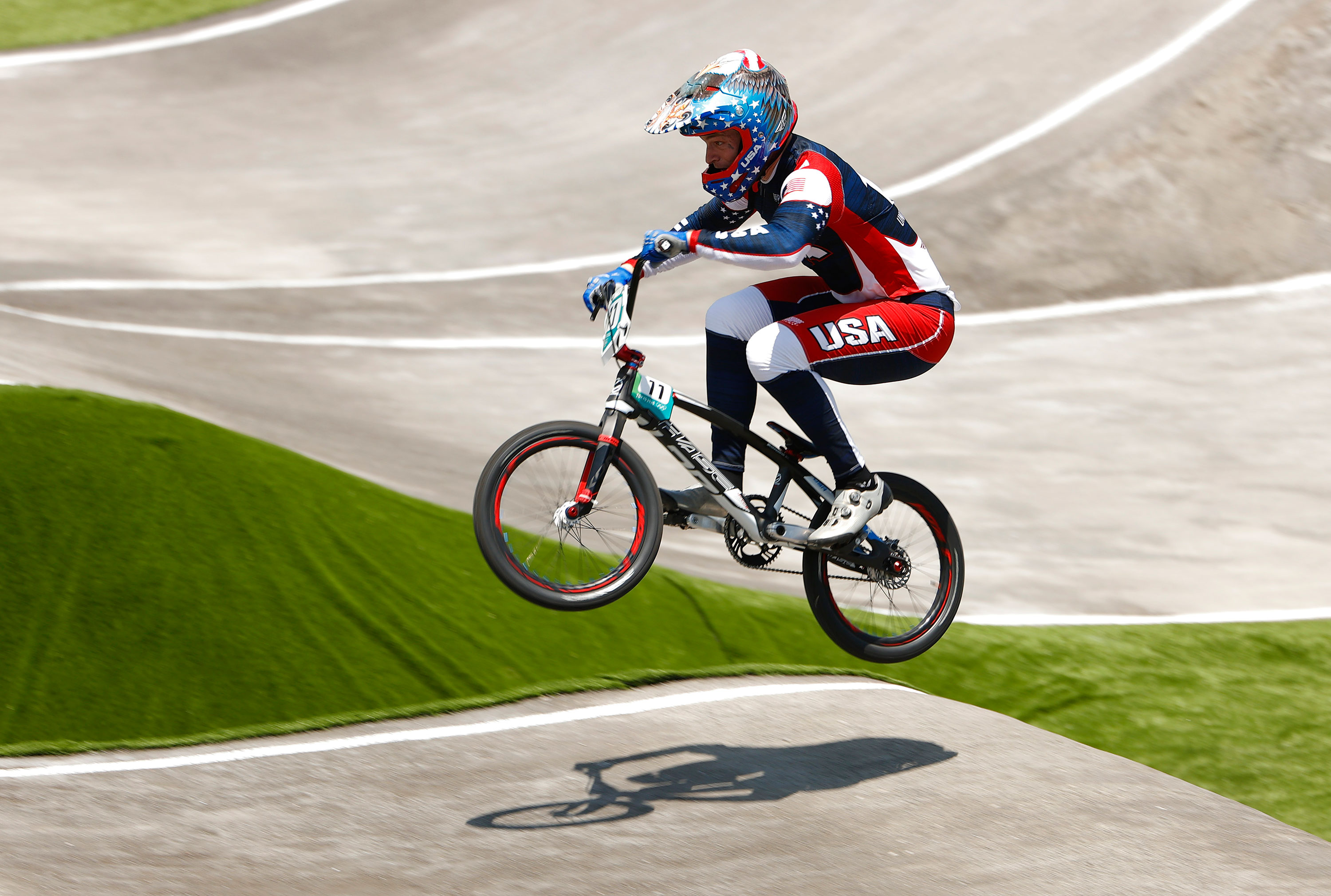 American Connor Fields competes during a BMX quarterfinal heat on July 29.