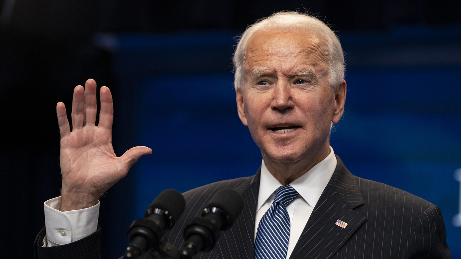 President Joe Biden answers questions from reporters in the South Court Auditorium on the White House complex on Monday, January 25, in Washington.