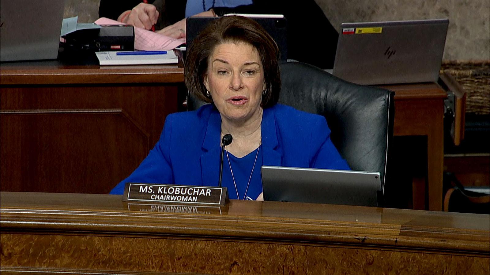 Sen. Amy Klobuchar delivers her opening statement.