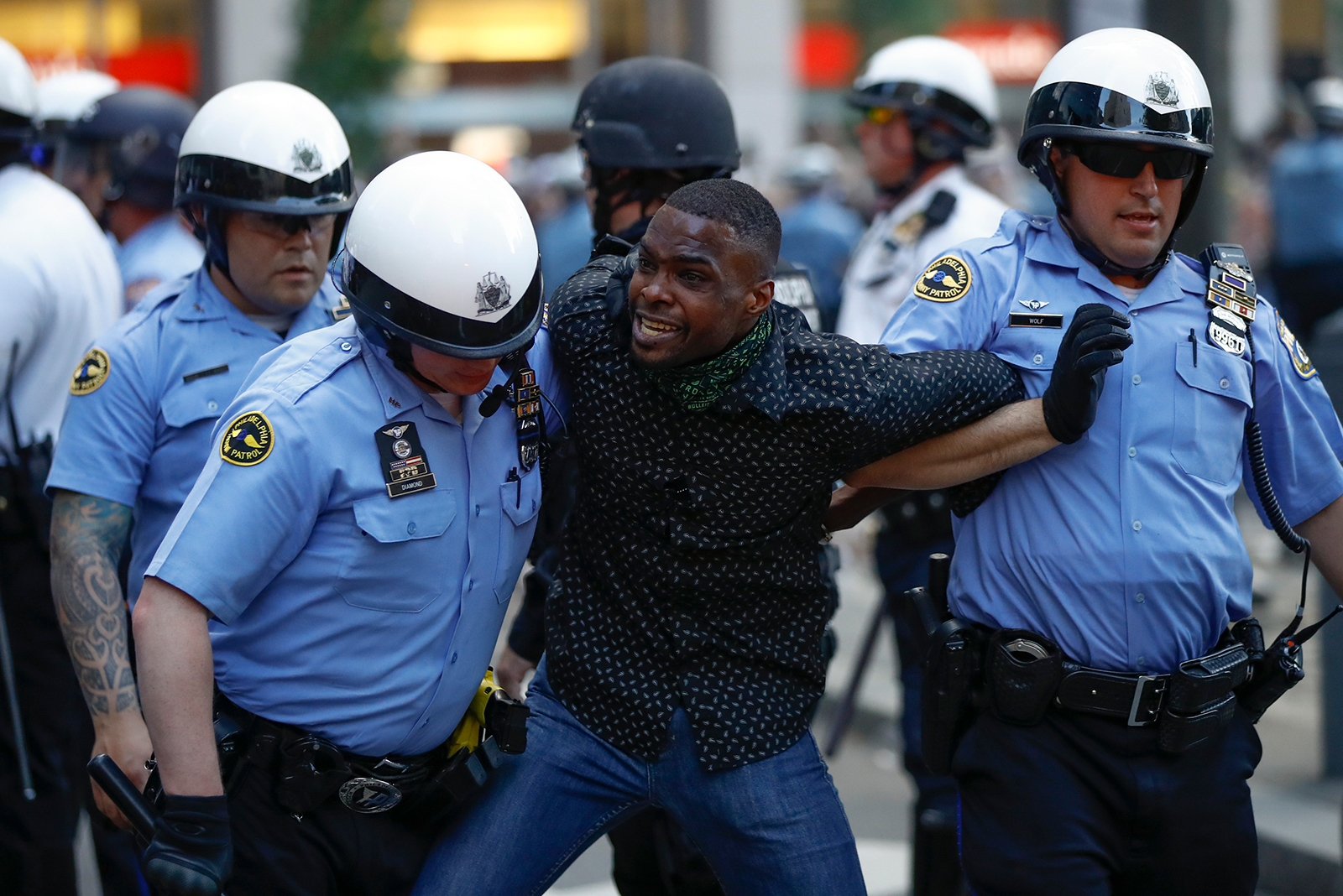 Philadelphia police restrain a man during the Justice for George Floyd Philadelphia Protest on Saturday, May 30.