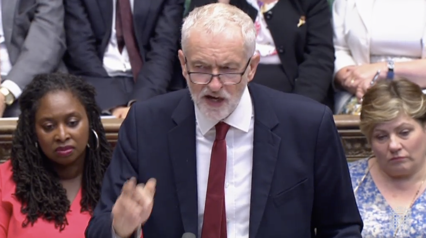 Opposition Labour leader Jeremy Corbyn in the House of Commons on Tuesday.