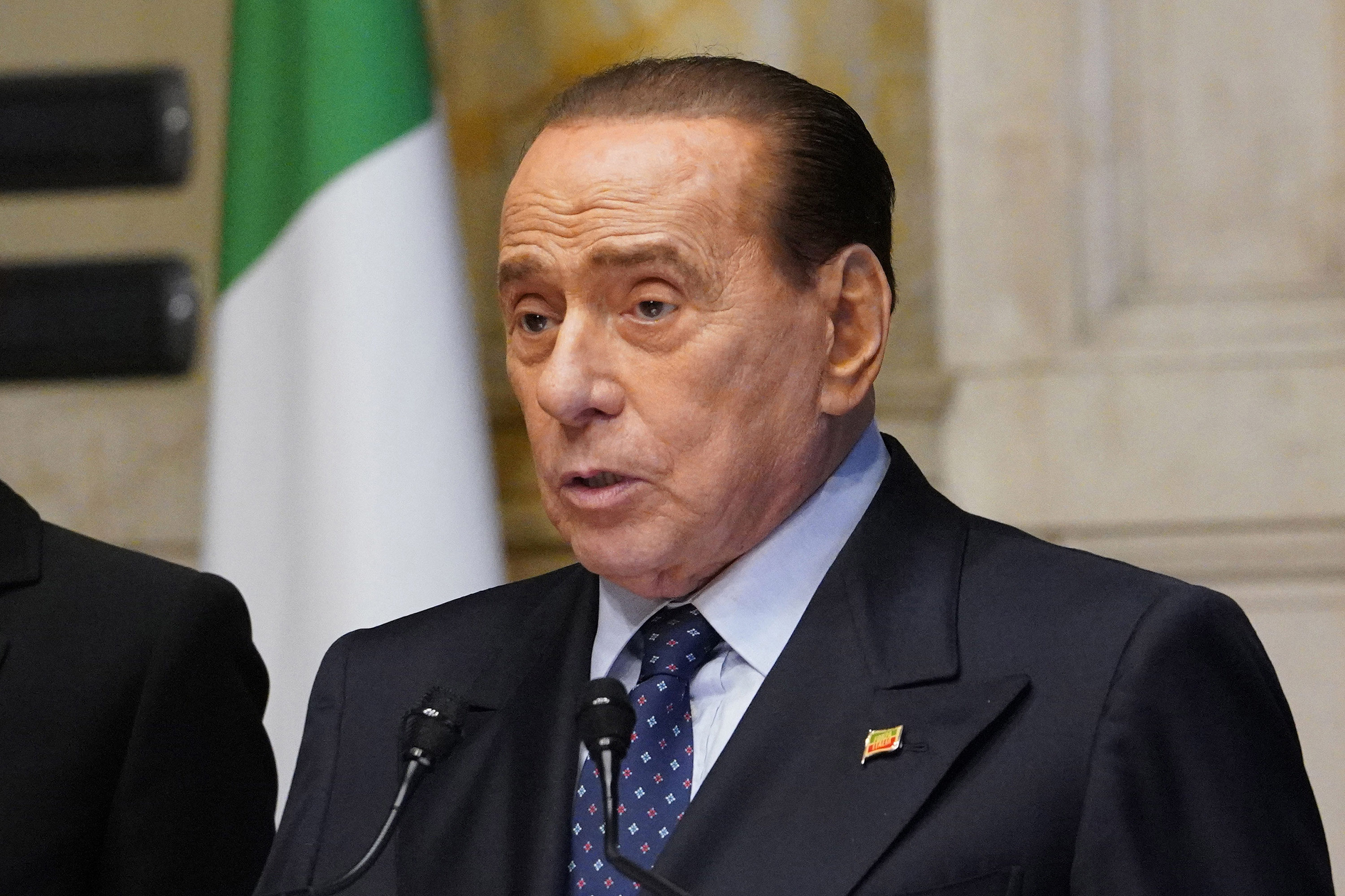 Italy's former prime minister, Silvio Berlusconi, speaks at the Chamber of Deputies on February 9, in Rome, Italy.