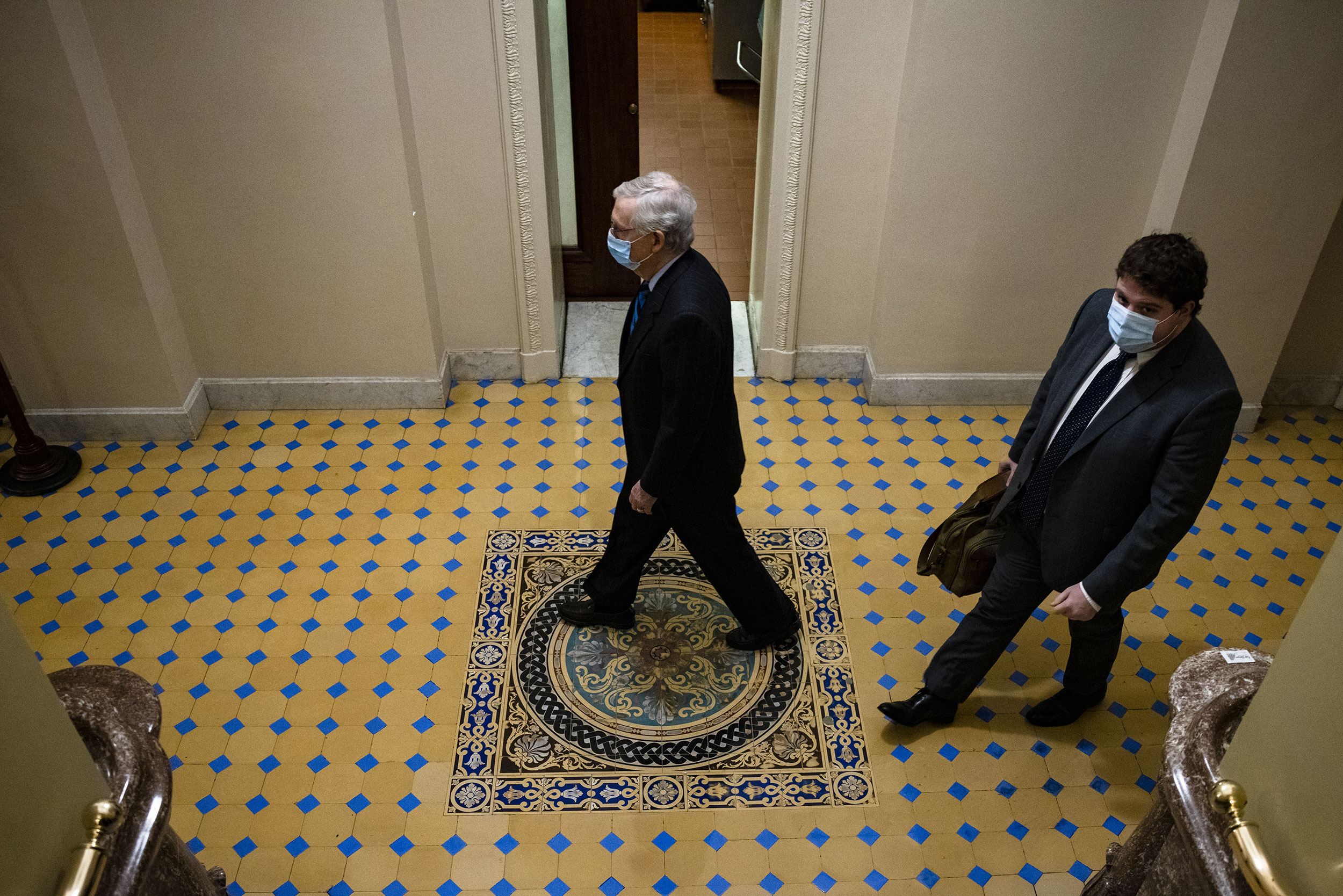 Senate Majority Leader Mitch McConnell arrives at the US Capitol on January 1.