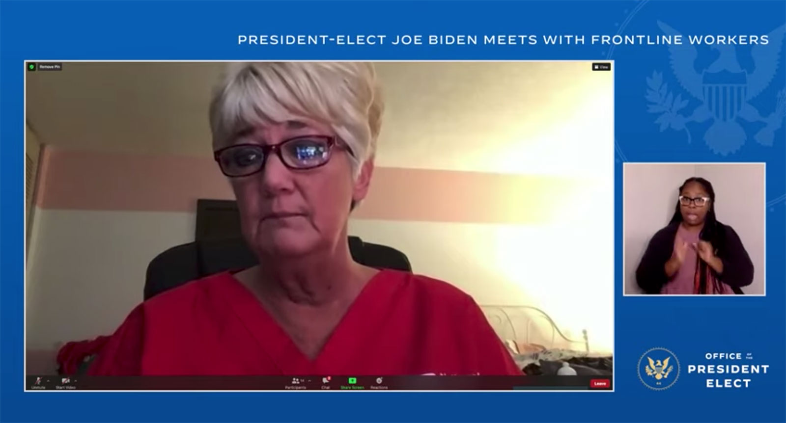 Mary Turner speaks during a virtual roundtable with frontline health care workers and President-elect Joe Biden.