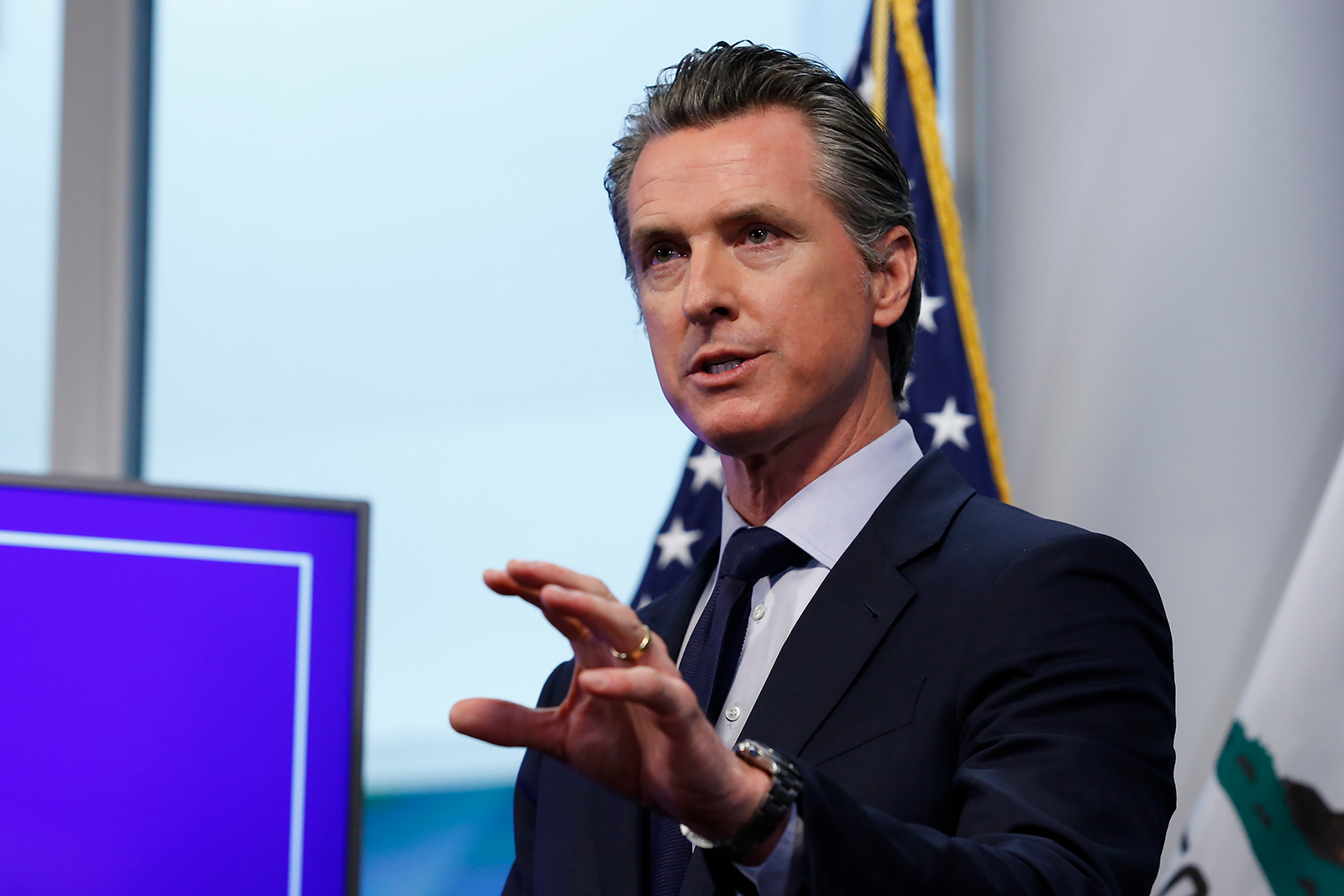 California Gov. Gavin Newsom speaks during a news conference in Sacramento, California, on April 14.