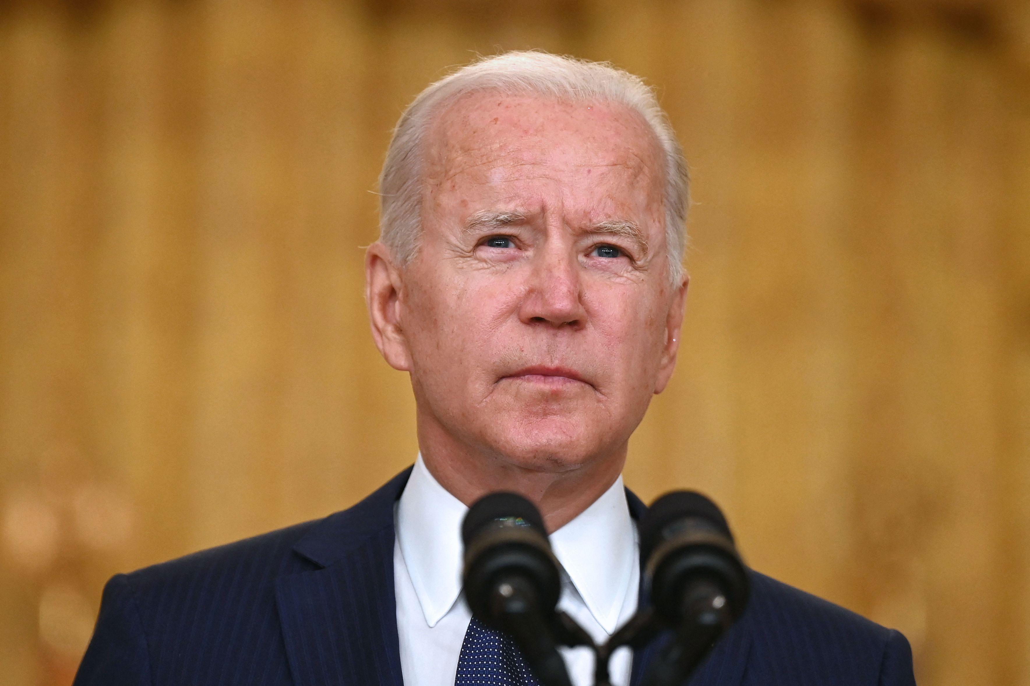 President Joe Biden speaks in the East Room of the White House in Washington, DC, on August 26.