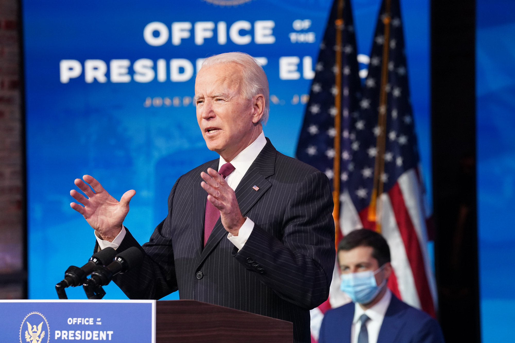 President-elect Joe Biden speaks during a news conference at Biden's transition headquarters on December 16 in Wilmington, Delaware.