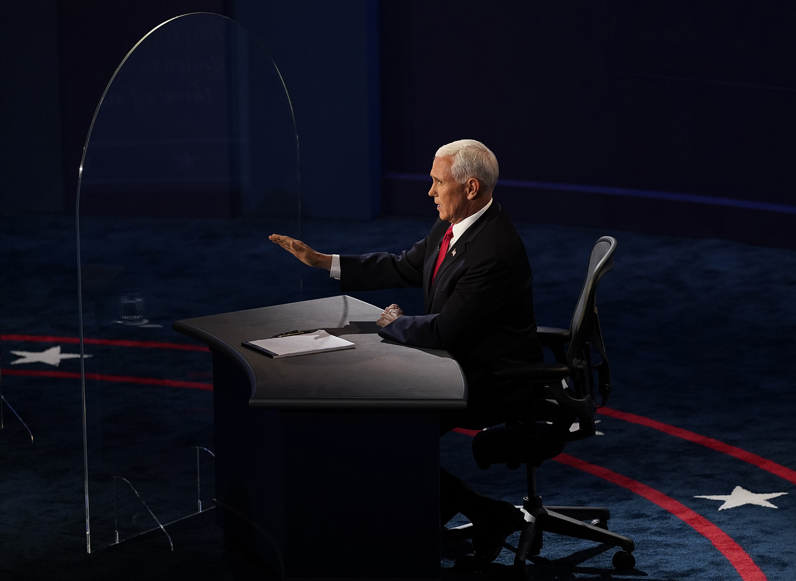 Vice President Mike Pence speaks during the vice presidential debate with Democratic vice presidential candidate Sen. Kamala Harris on Wednesday in Salt Lake City.