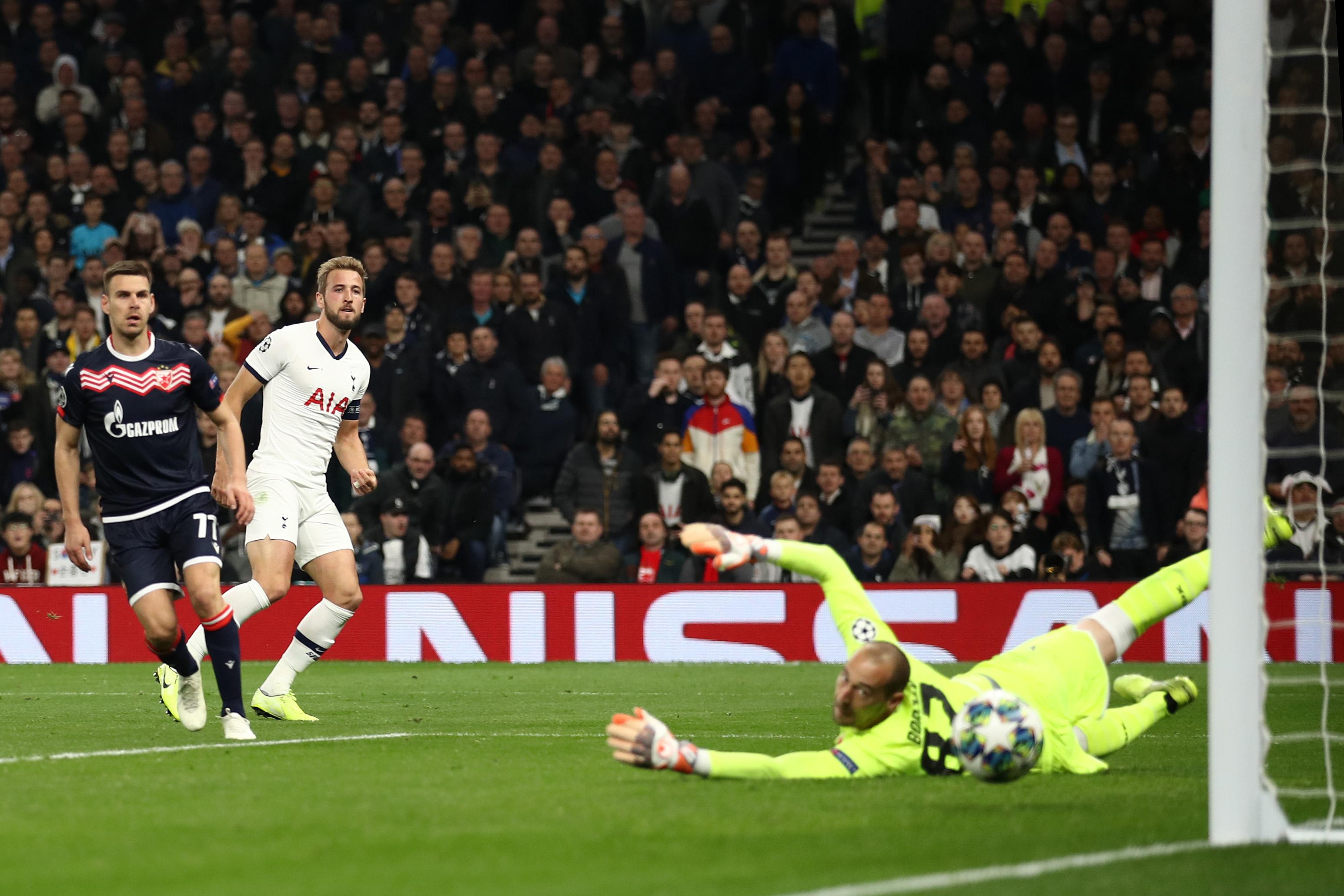 Harry Kane fires home Tottenham's fifth against Red Star Belgrade.