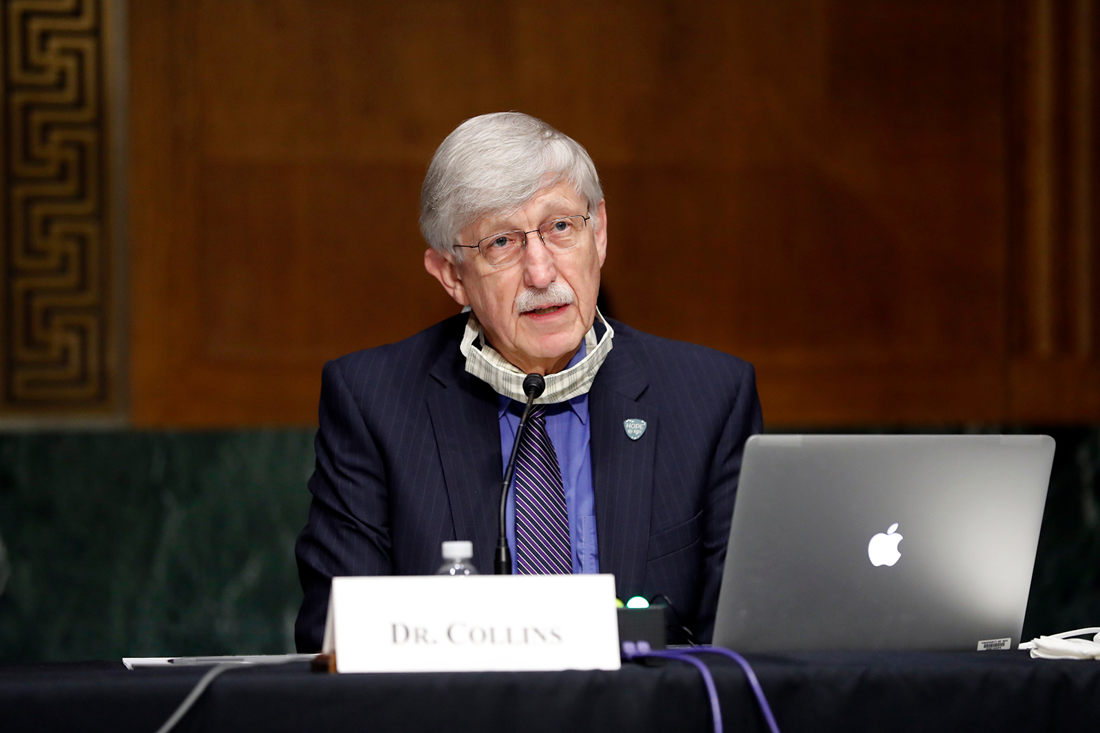 National Institutes of Health Director Dr. Francis Collins listens during a Senate Health Education Labor and Pensions Committee hearing on new coronavirus tests on Capitol Hill in Washington, on May 7.