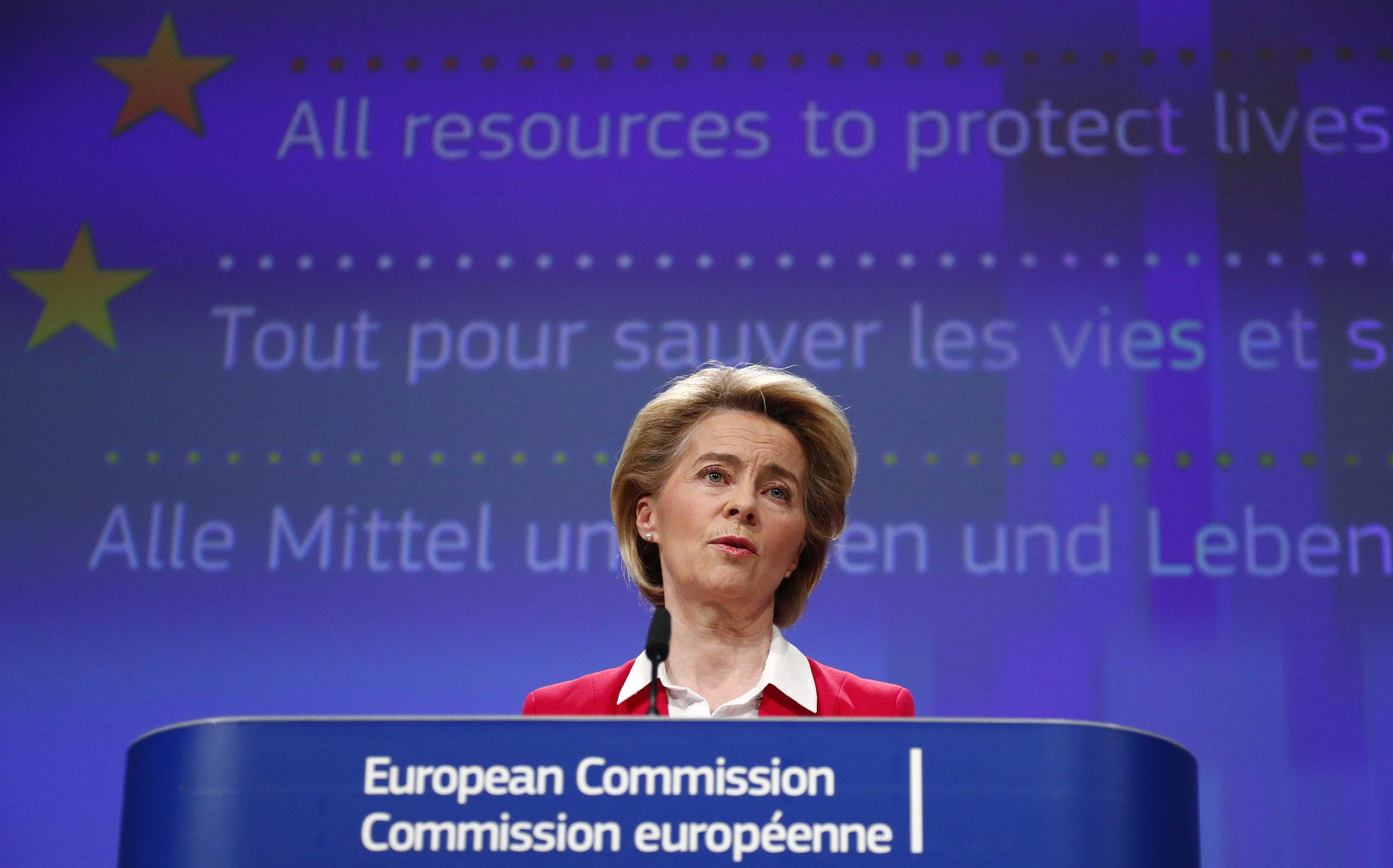 European Commission President Ursula von der Leyen speaks during a media conference at EU headquarters in Brussels, Belgium, on April 2.