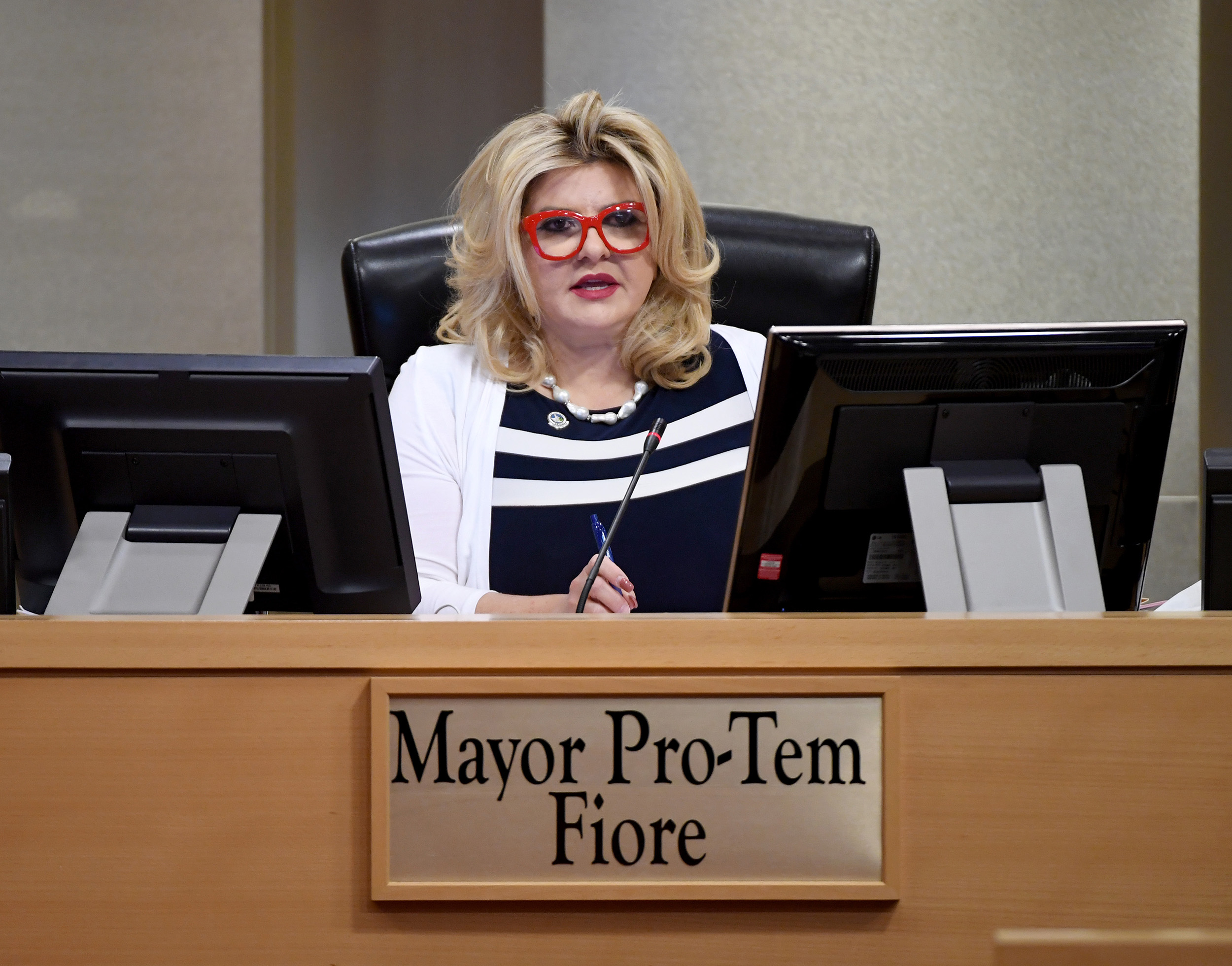 Mayor Pro Tem Michele Fiore speaks during a city council meeting held amid the coronavirus pandemic at City Hall in Las Vegas, Nevada, on May 20.
