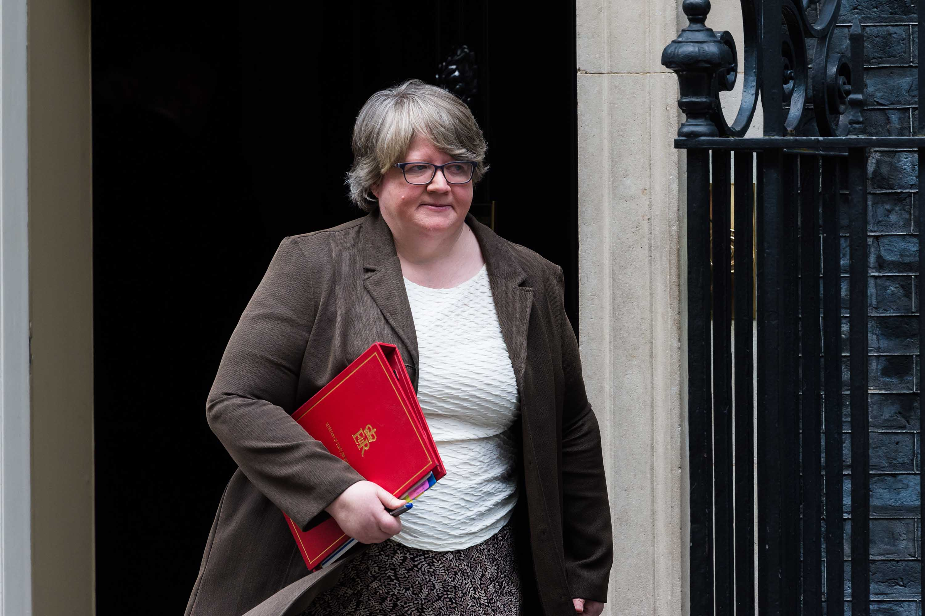 Secretary of State for Work and Pensions Therese Coffey leaves 10 Downing Street in London following a Cabinet meeting on March 17.