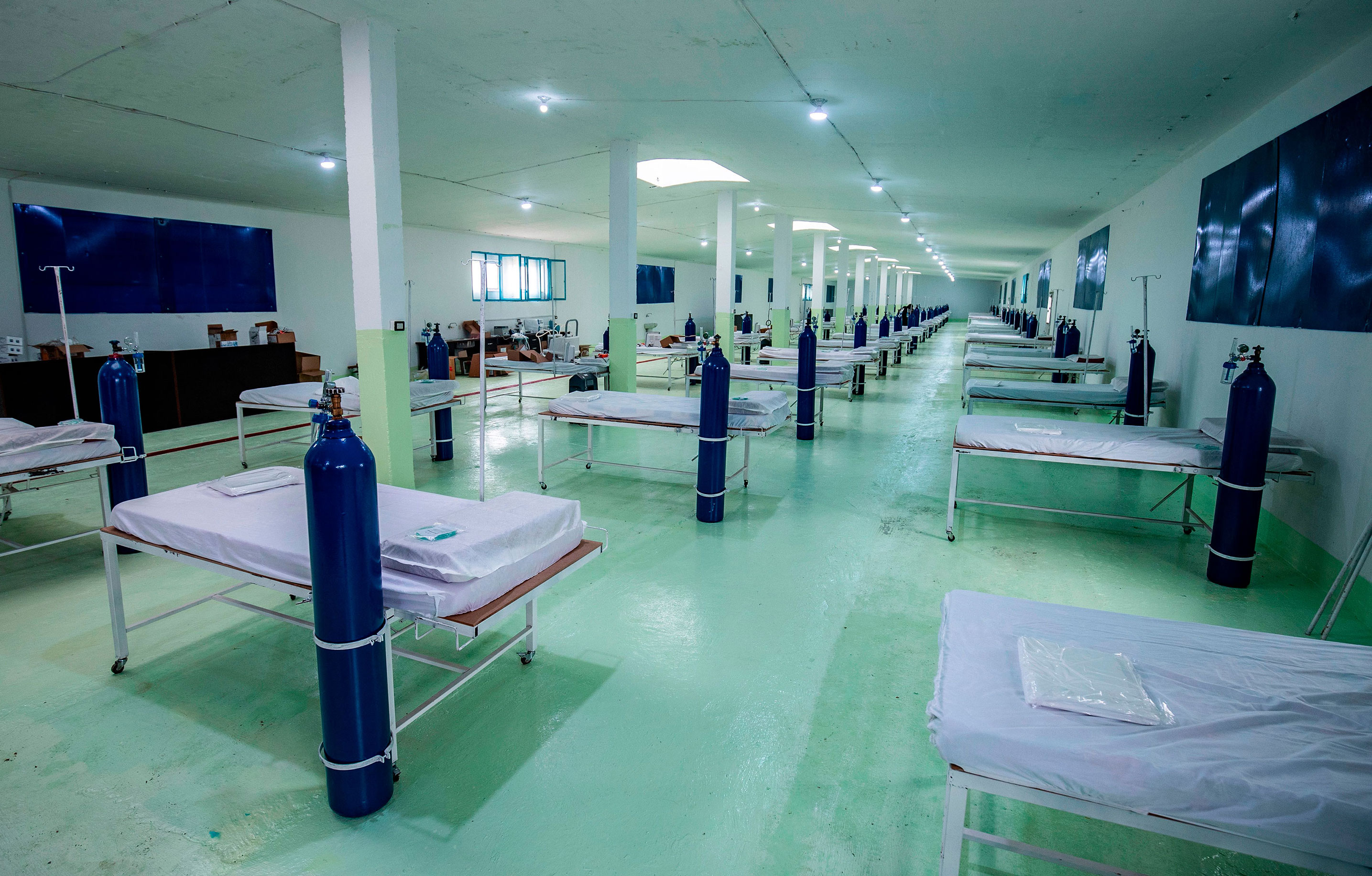 Beds are seen in a specialized hospital for coronavirus patients in Hasakeh, Syria, in April.