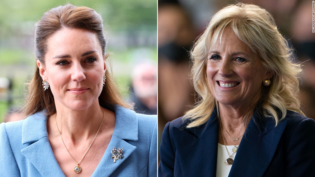 Britain's Catherine, Duchess of Cambridge, left, and First Lady Jill Biden.