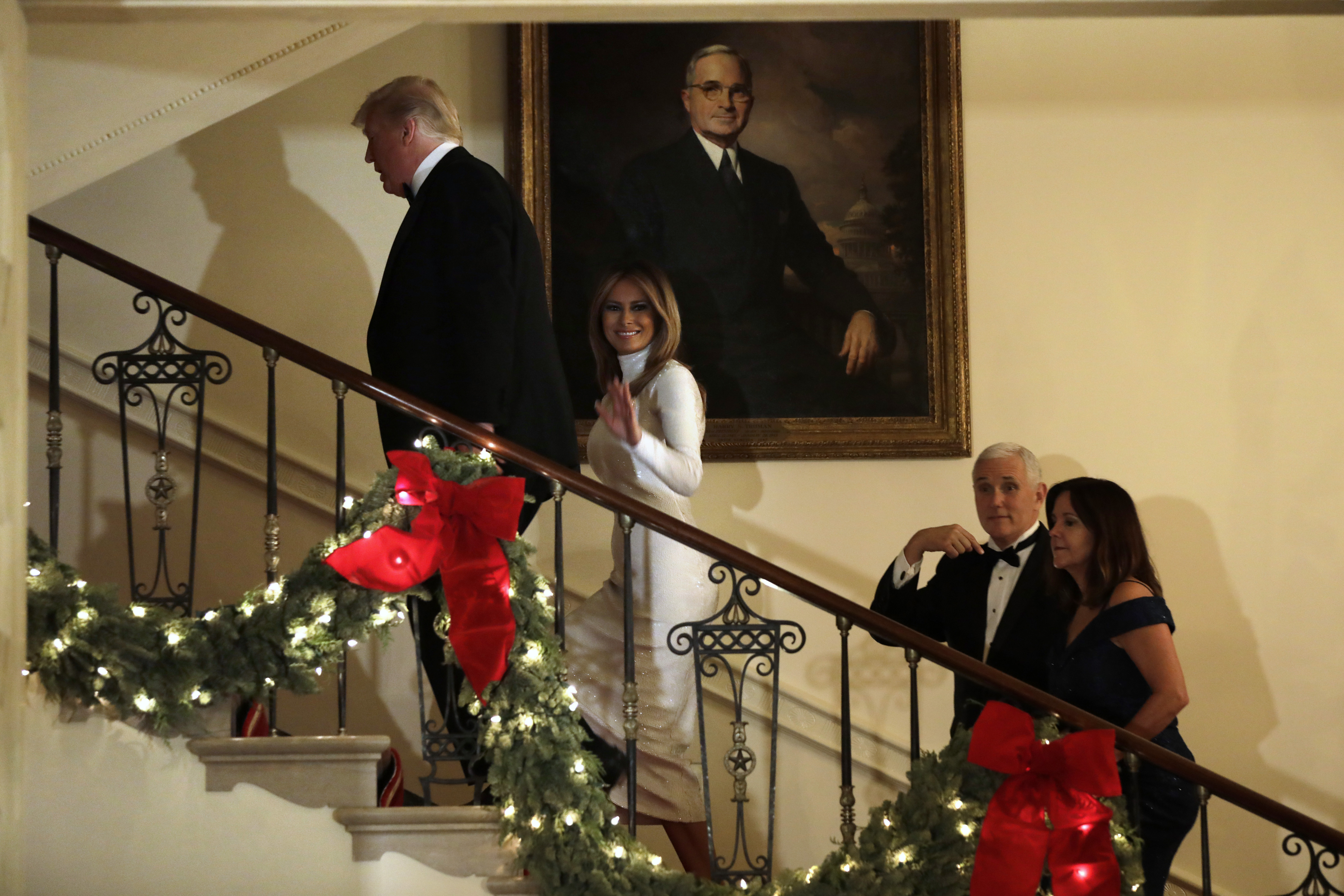 President Donald Trump and First Lady Melania Trump leave after the Congressional Ball on December 15, 2018.