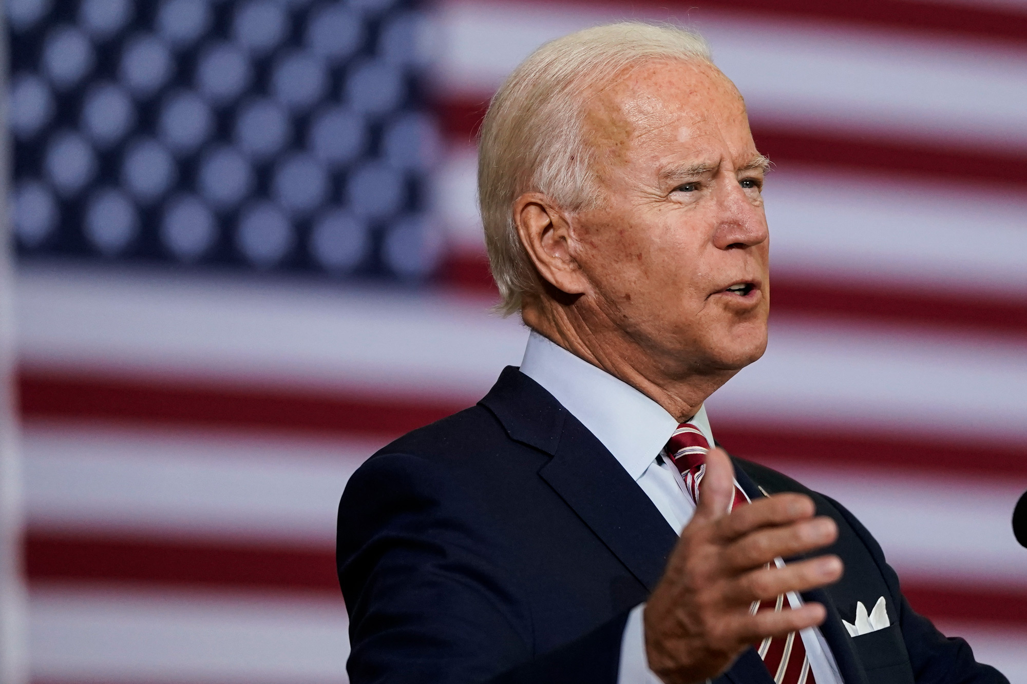 Democratic presidential nominee Joe Biden speaks during a roundtable event at Hillsborough Community College on September 15 in Tampa, Florida.