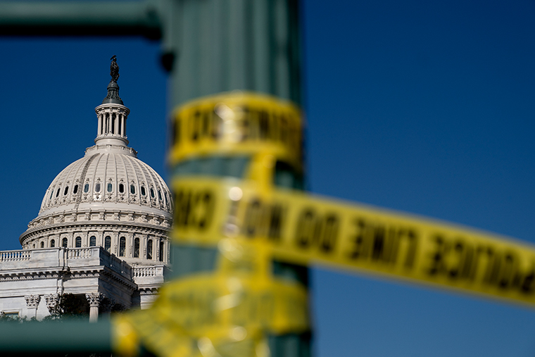 Police tape hangs near the U.S. Capitol on January 14, 2021 in Washington, DC.