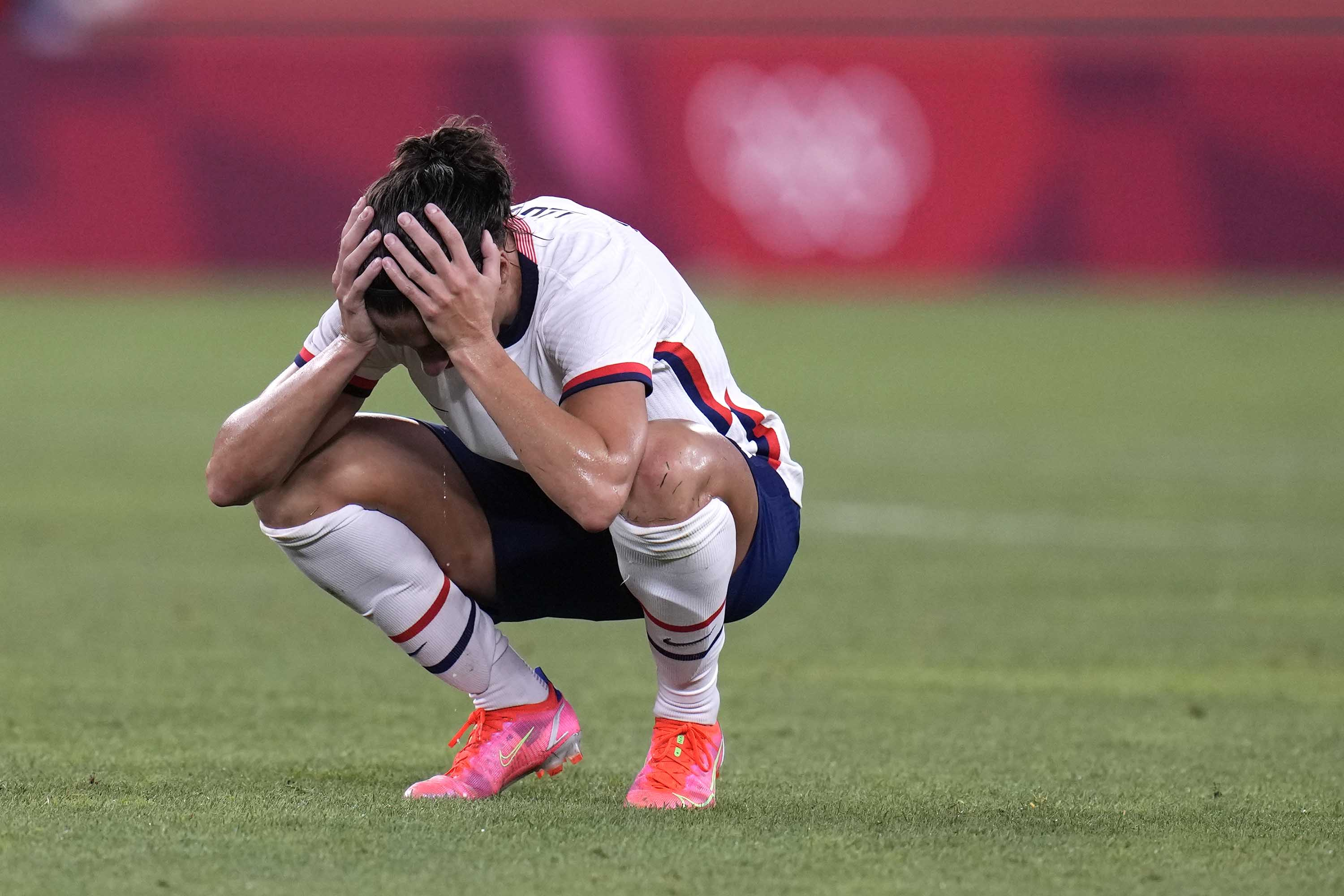 The United States' Carli Lloyd reacts after being defeated 1-0 by Canada.