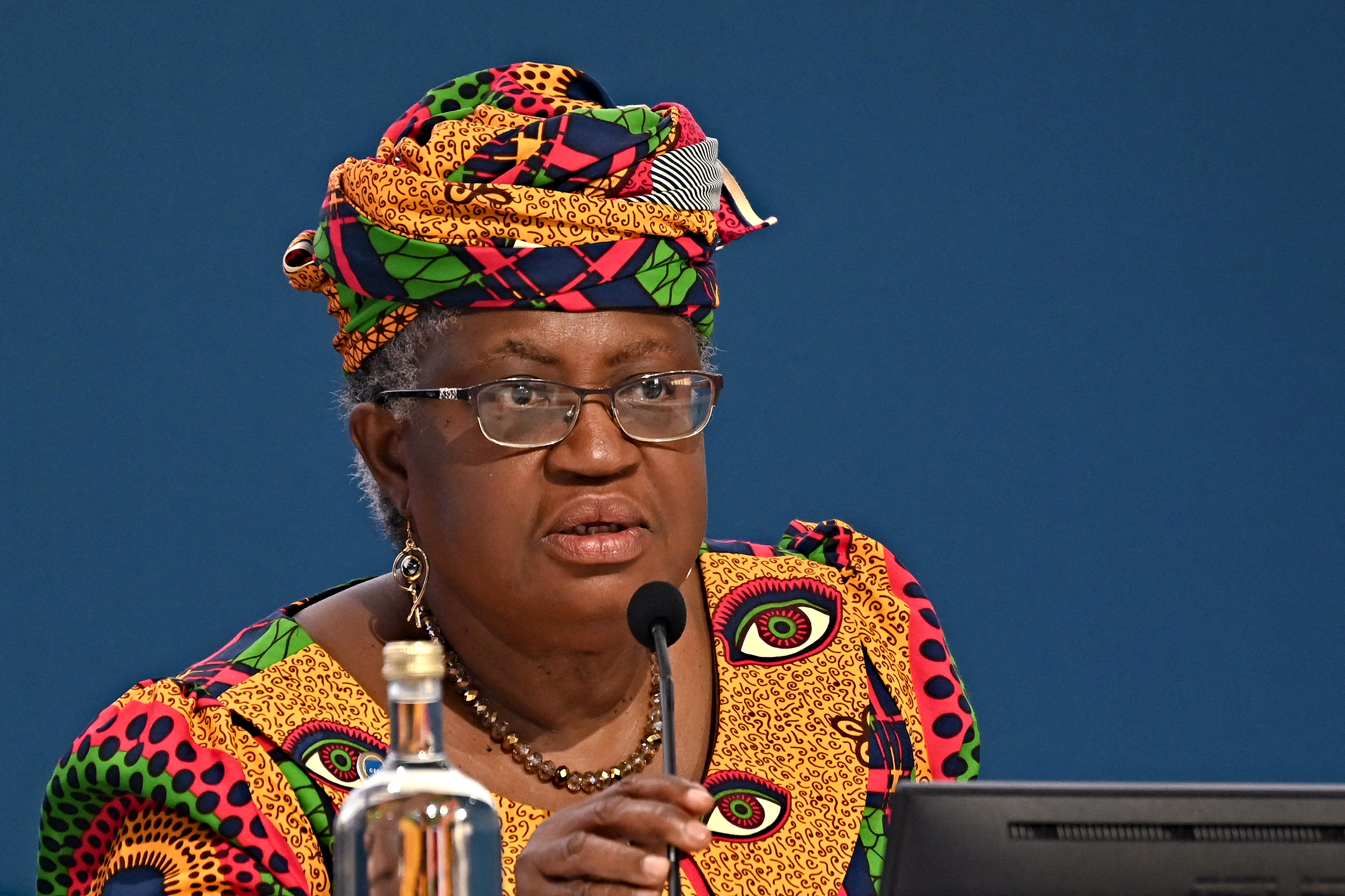 Director-general of the World Trade Organization Ngozi Okonjo-Iweala speaks during the press conference in Venice, Italy on July 9.