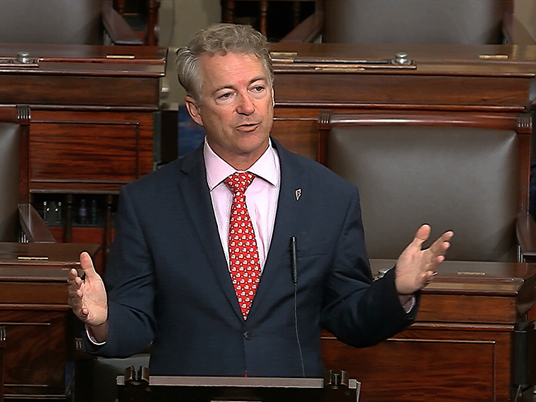 Sen. Rand Paul, R-Ky., speaks on the Senate floor at the U.S. Capitol in Washington, Wednesday, March 18.
