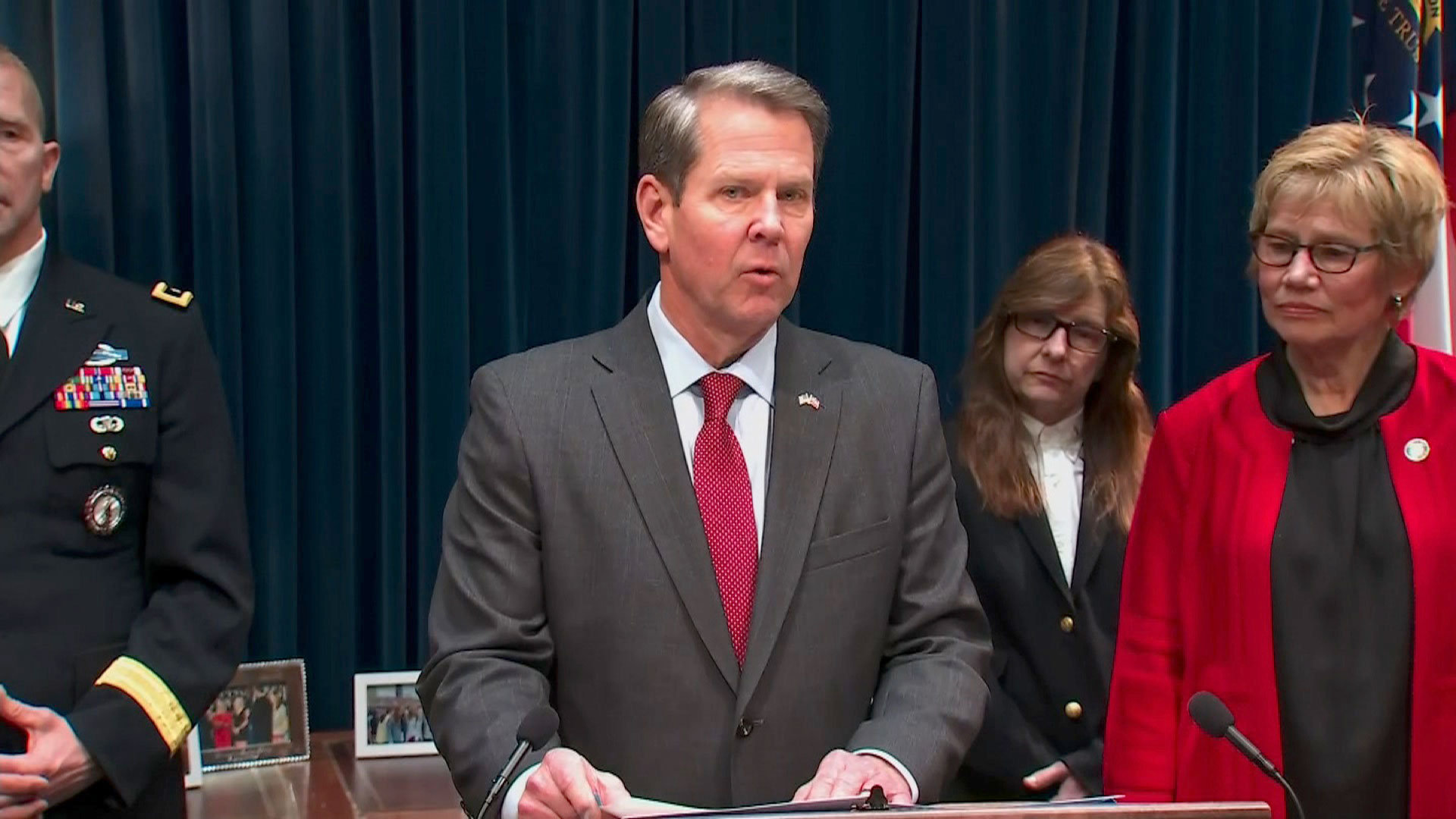 Governor Brian Kemp speaks at a coronavirus news conference on March 2 in Atlanta.