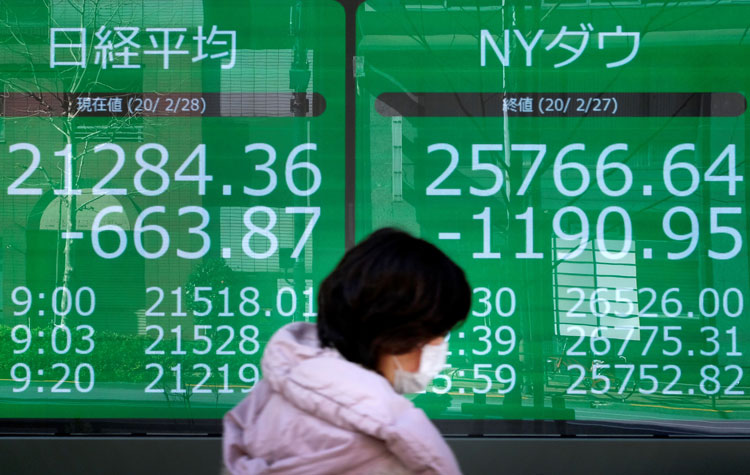 A pedestrian walk past an electronic quotation board displaying share prices of the Nikkei 225 Index, left, and New York Dow, right, in Tokyo on February 28.