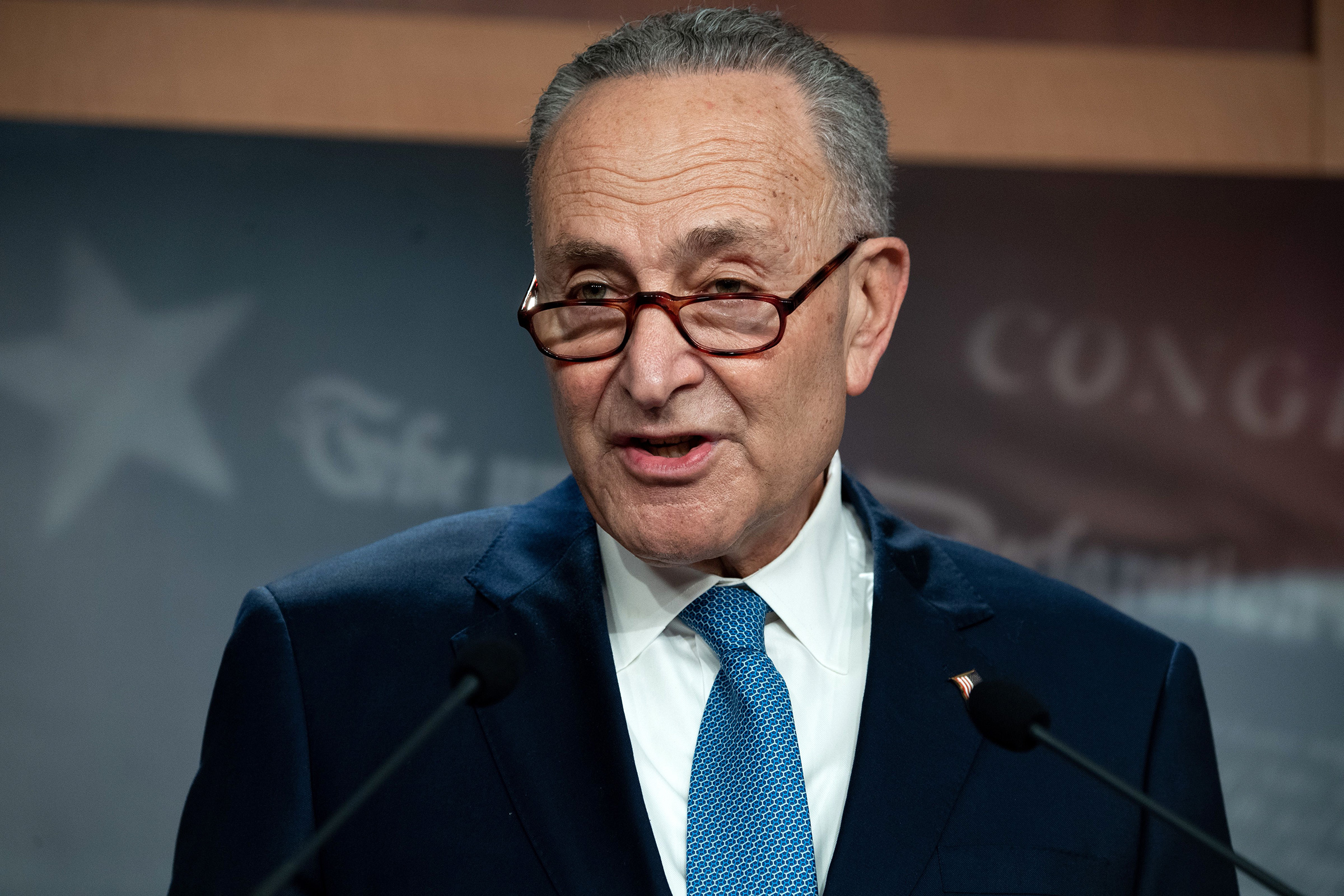 Senate Minority Leader Chuck Schumer speaks during a press conference in Washington, DC, on January 6.