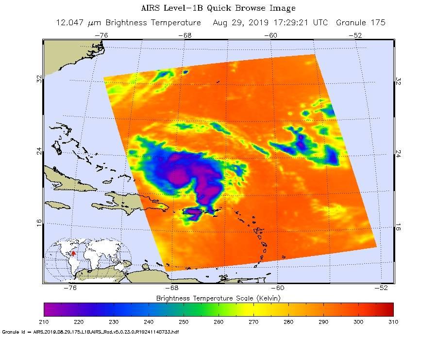 Hurricane Dorian at 1:30 p.m. ET on Aug. 29, 2019.