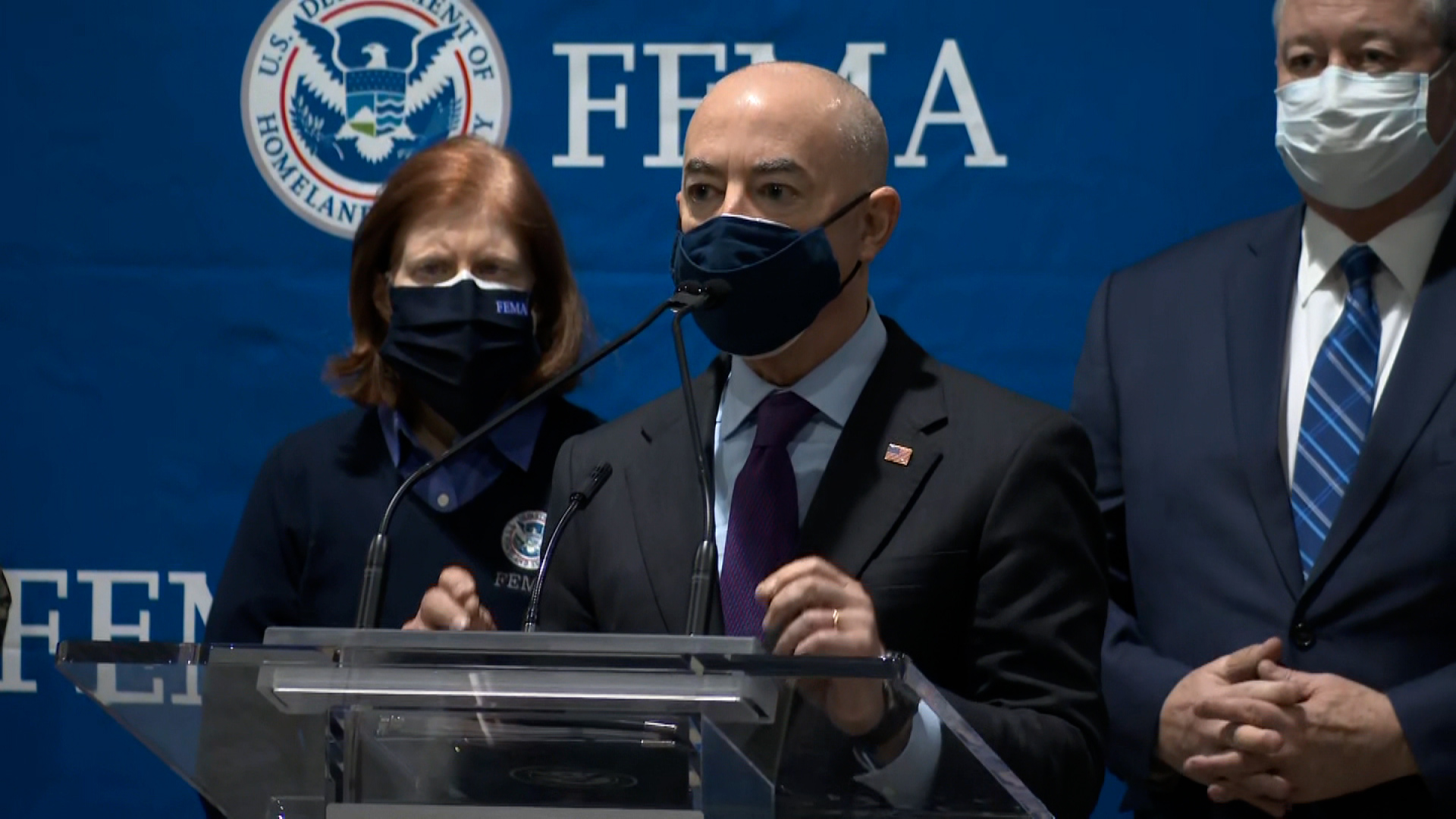 Homeland Security Secretary Alejandro Mayorkas speaks at a FEMA-supported vaccination center in Philadelphia on March 2.