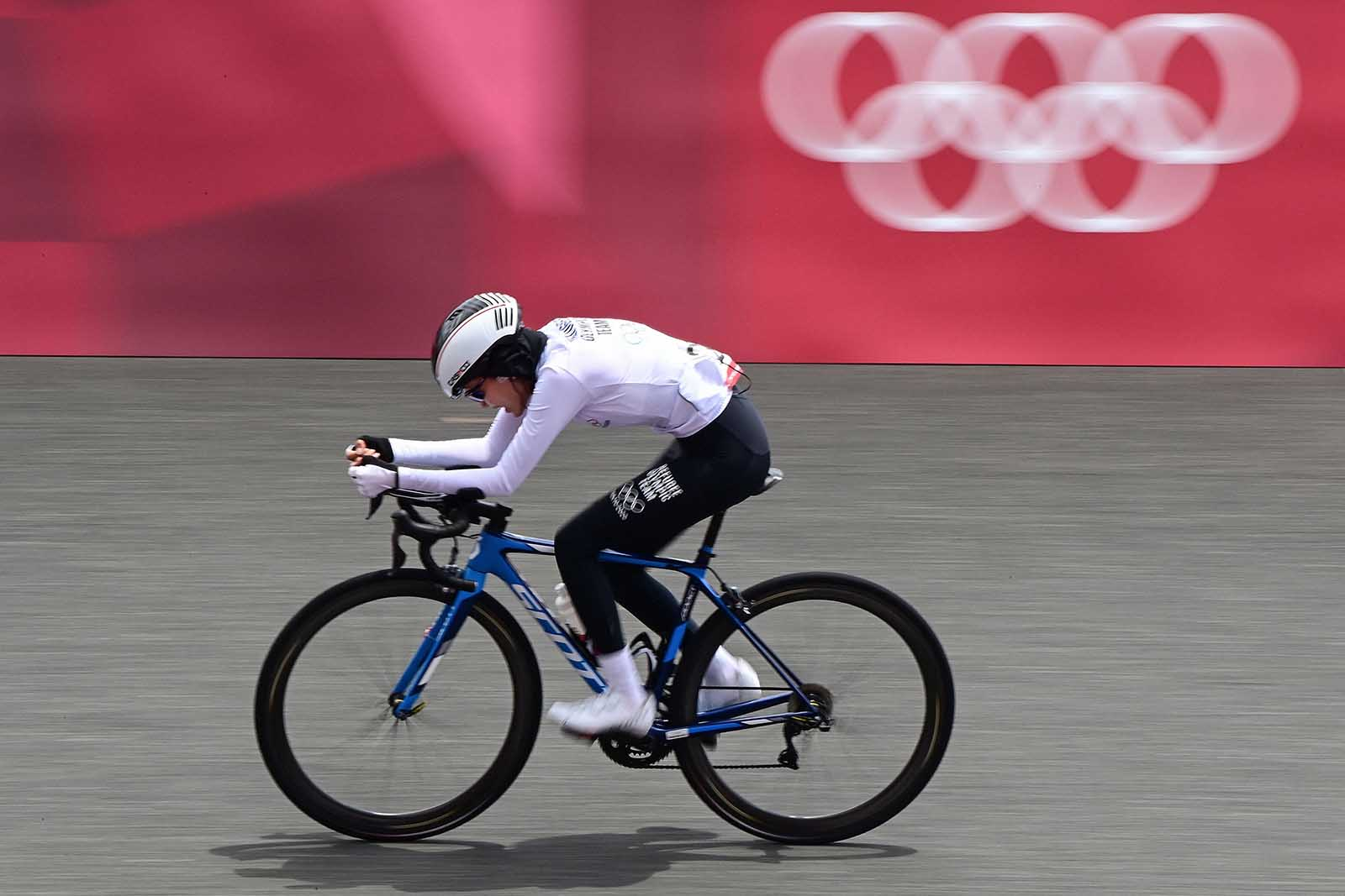 Ali Zada competes in the women's cycling road individual time trial in Oyama, Japan, on Wednesday.