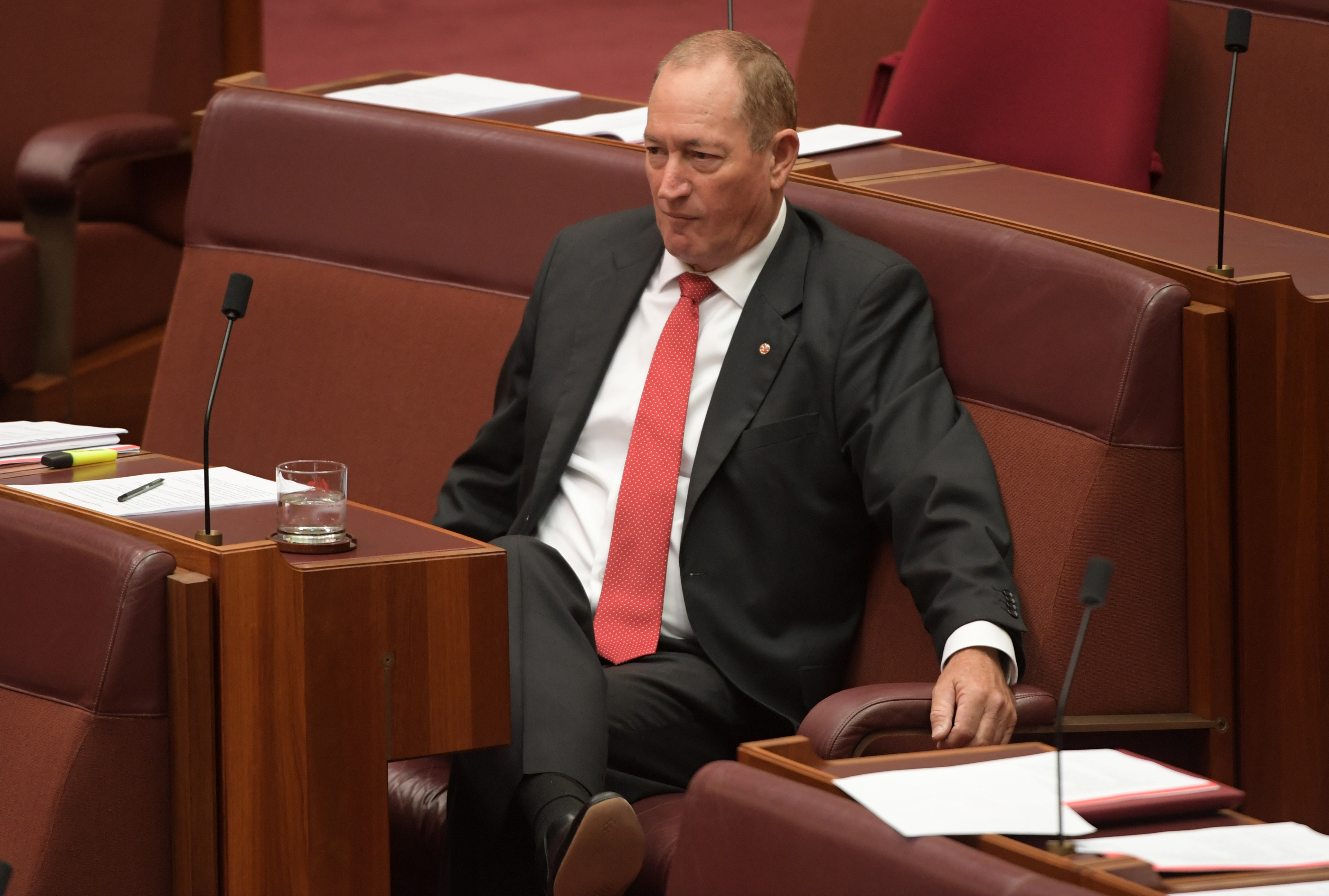 Senator Fraser Anning in the Senate at Parliament House, Canberra.