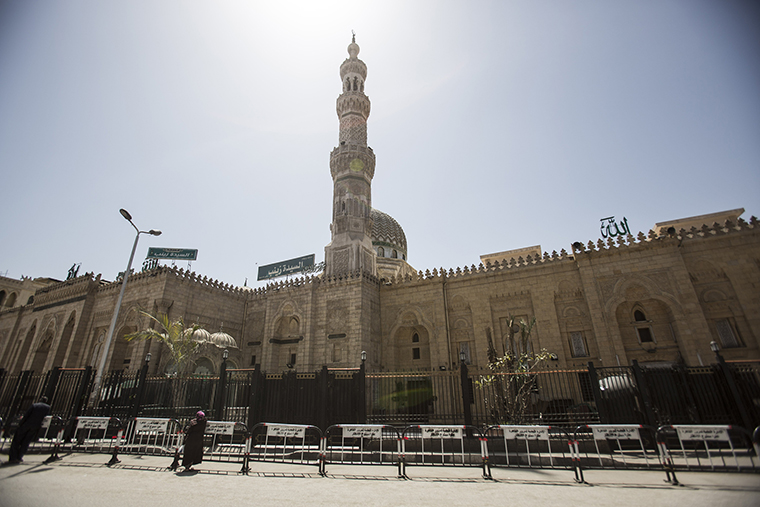 El Sayeda Zainab Mosque is seen closed at the time of Friday Congregational prayers in Cairo, on April 3.