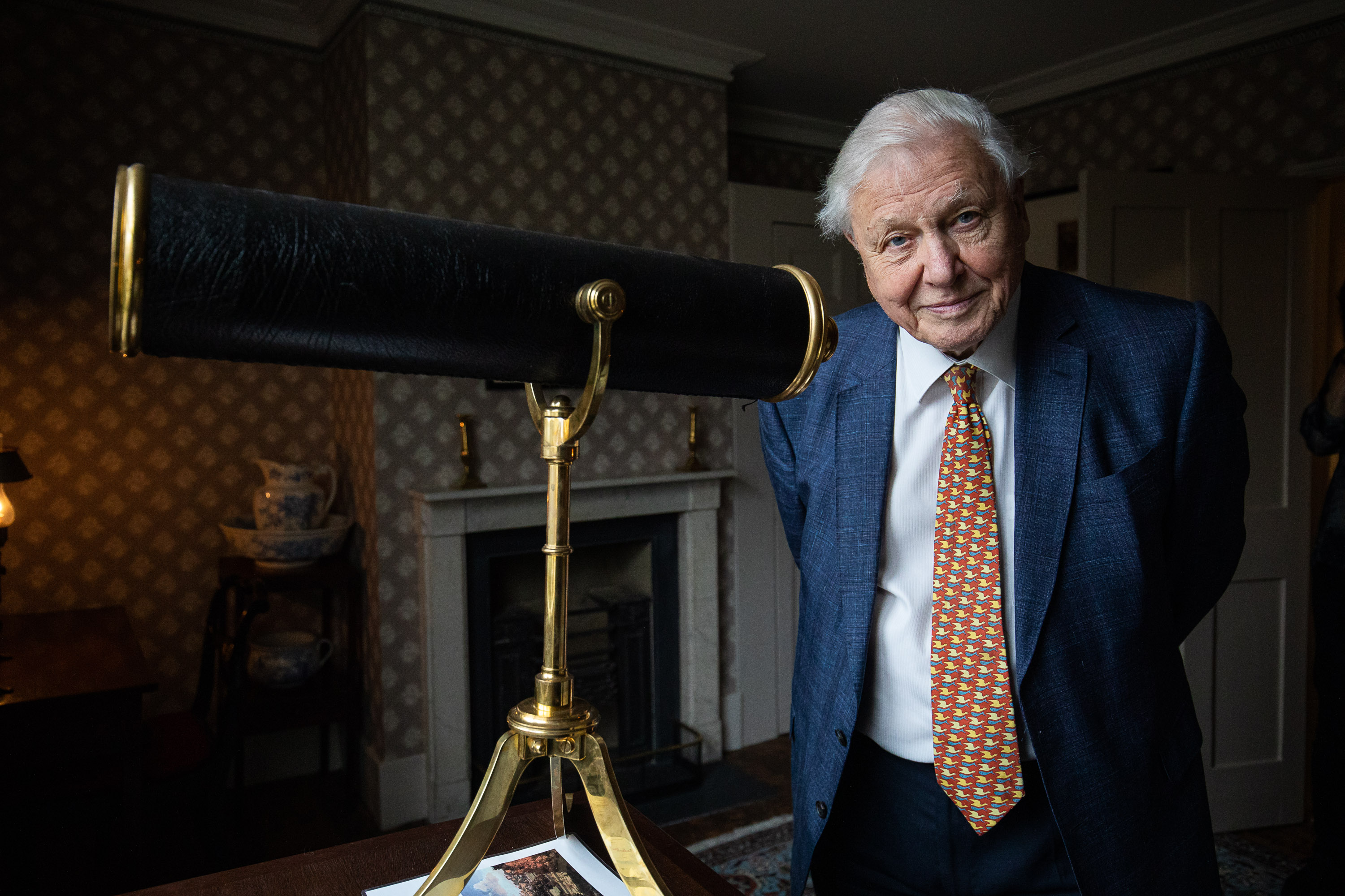 Sir David Attenborough attends an art opening on January 10 in London, England.