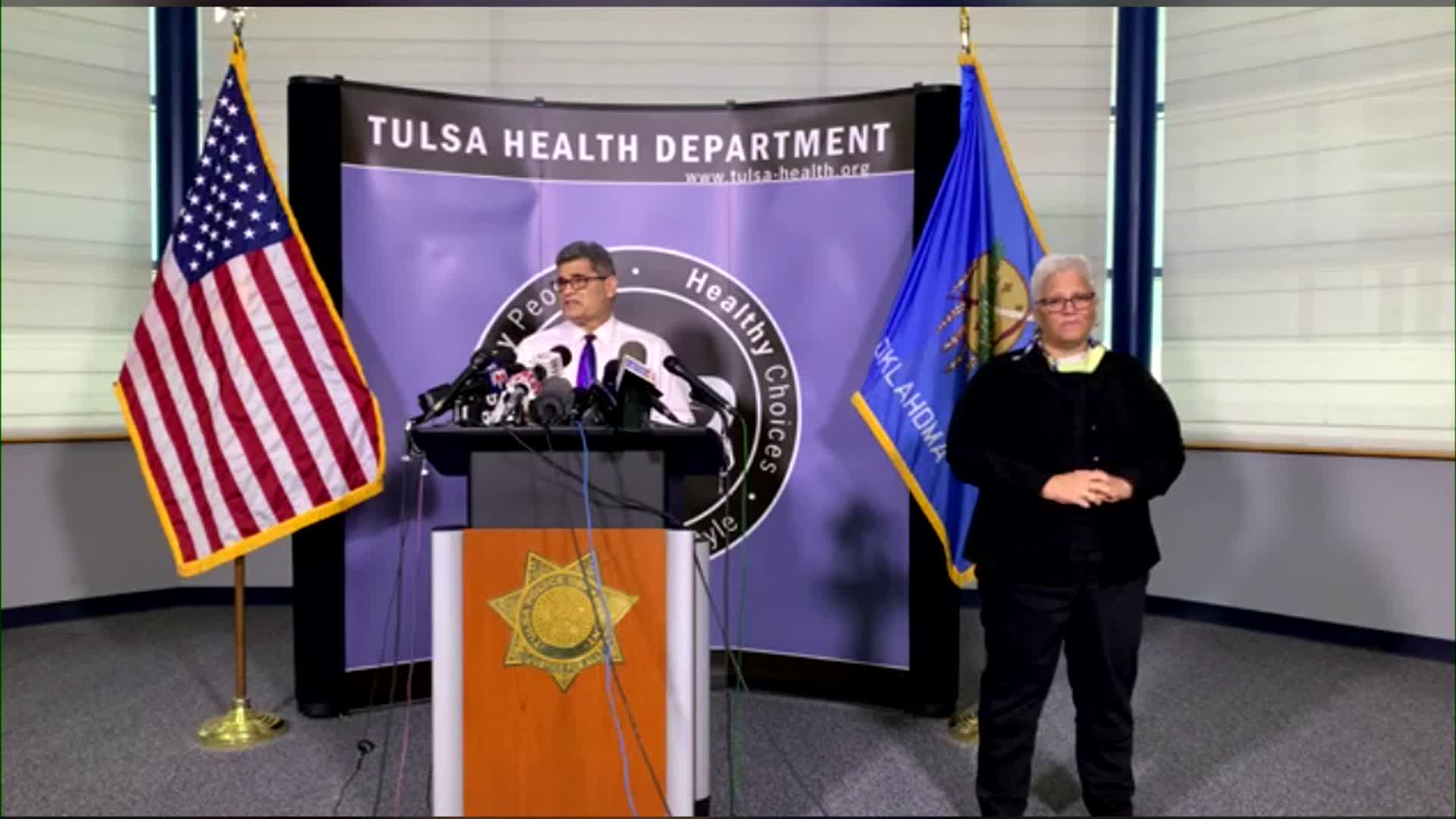 Director of the Tulsa Health Department Dr. Bruce Dart speaks at a news presser.