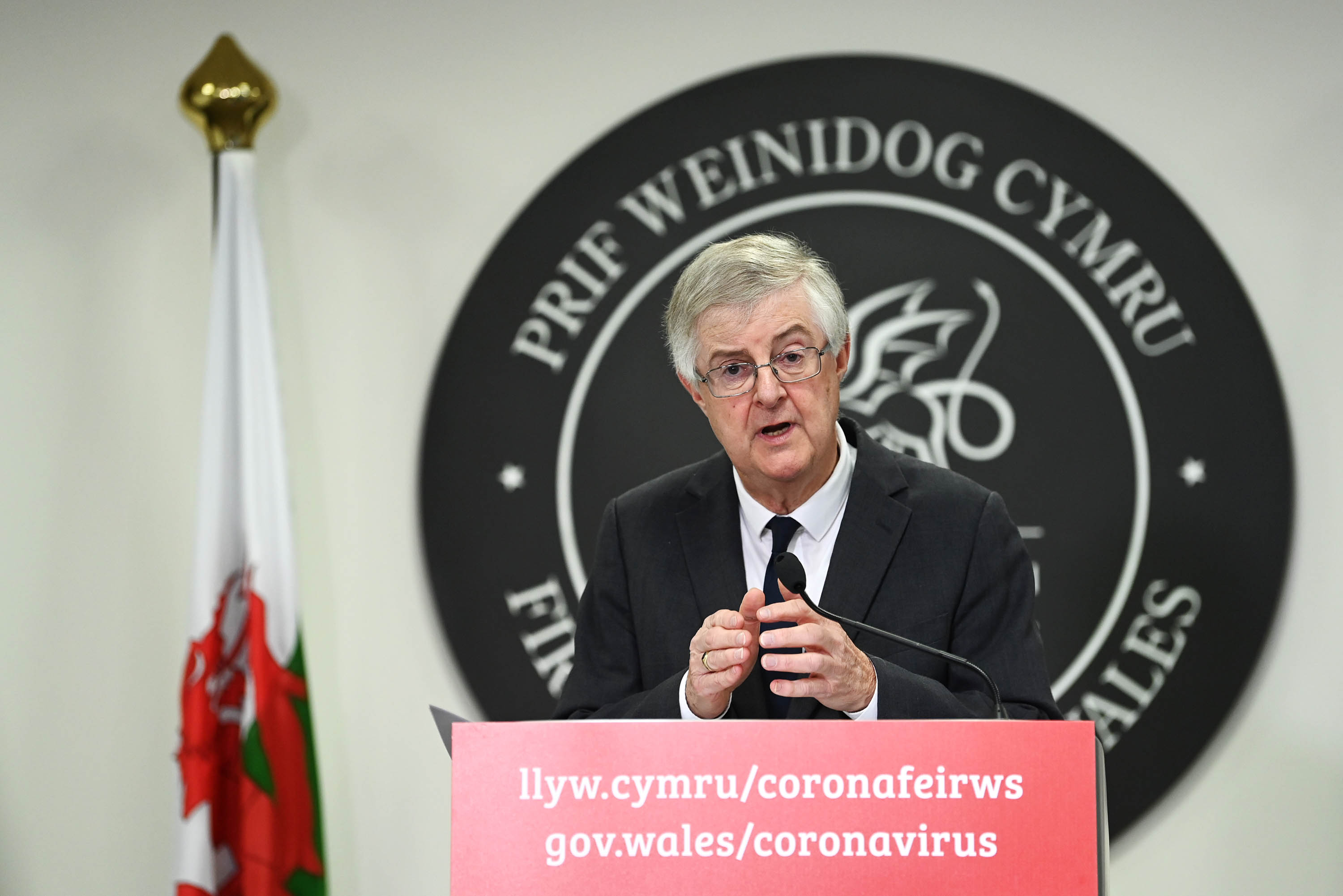 First Minister of Wales Mark Drakeford speaks during a press conference on October 19, in Cardiff.