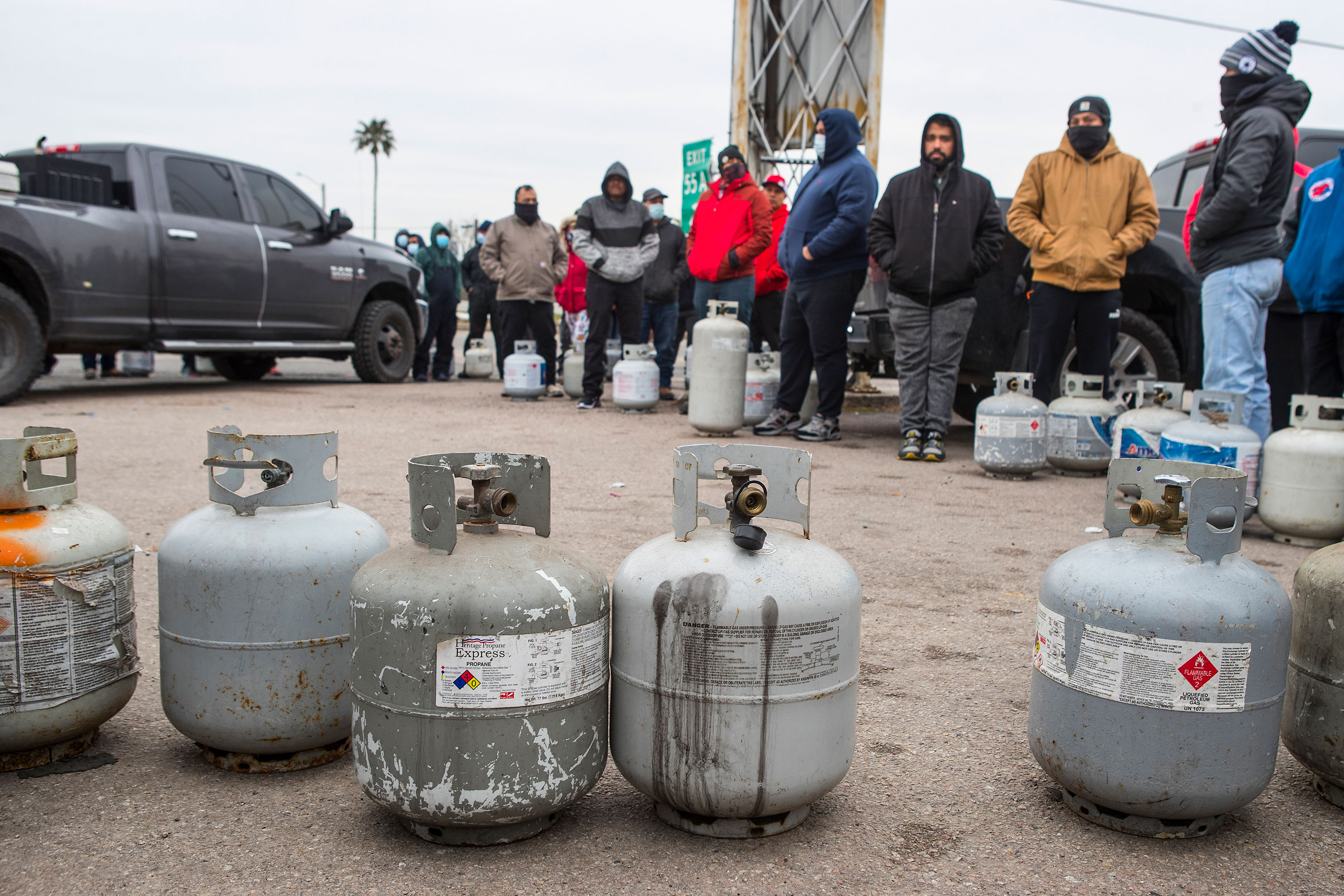 People line up to fill their empty propane tanks in Houston on February 16.