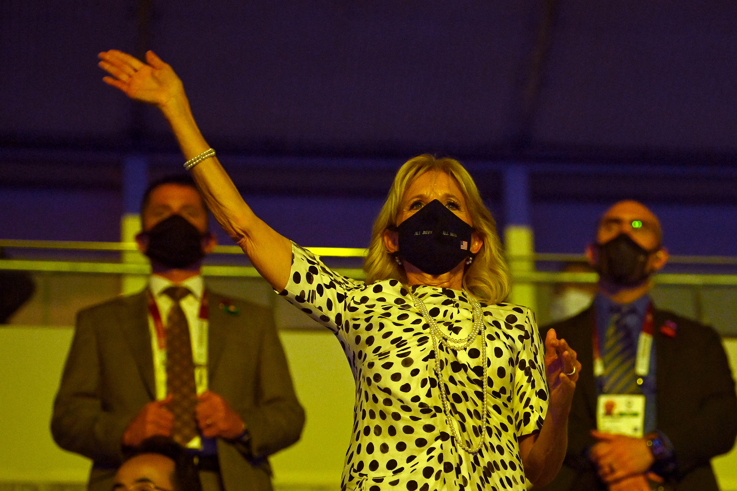 First lady Jill Biden waves during the Opening Ceremony of the Tokyo Olympics on July 23.