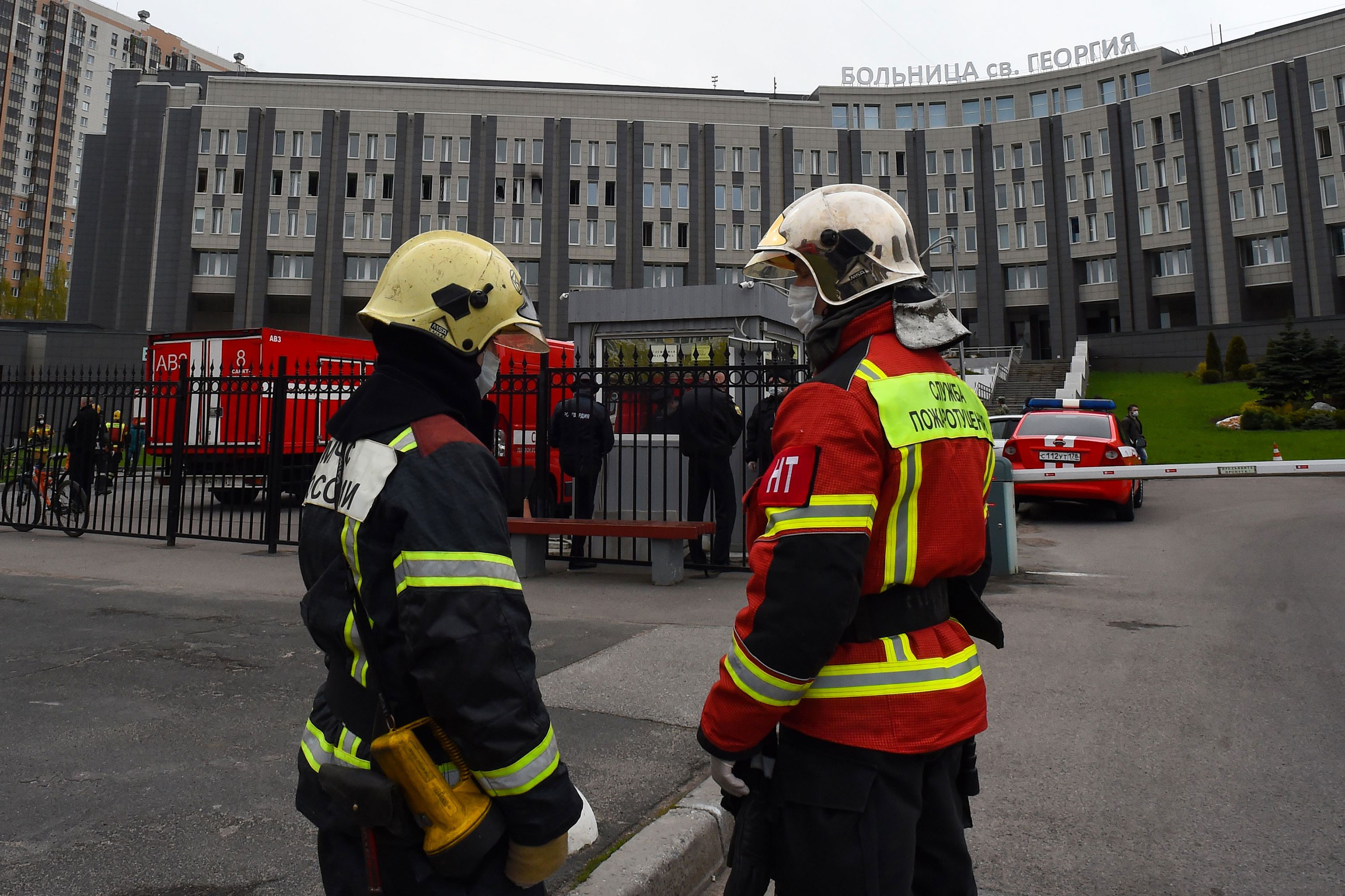 Firefighters respond to a fire at the Saint George hospital in St. Petersburg, Russia, on May 12.